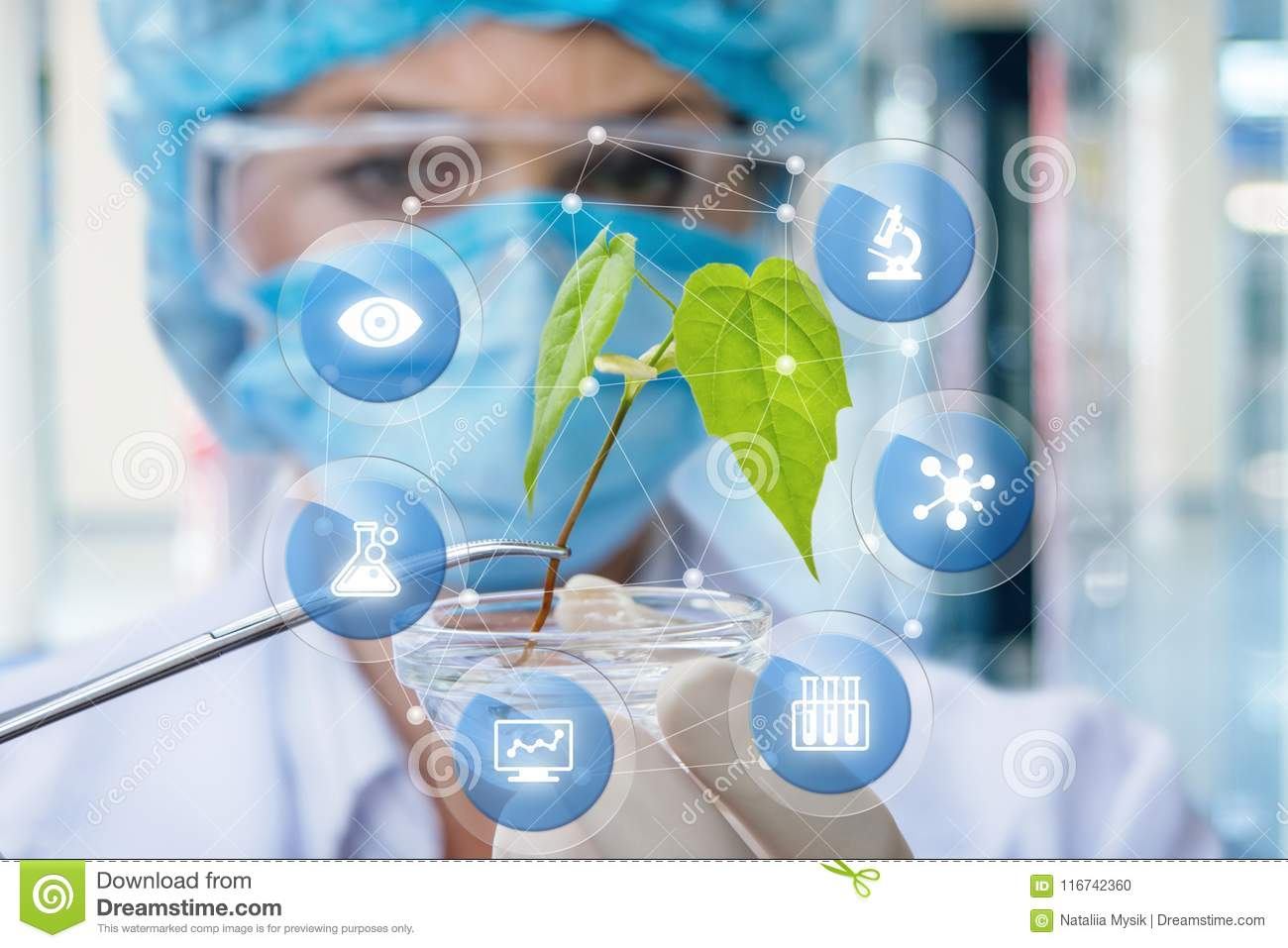 Biochemist Is Studying The Sample Stock Photo Image Of Medical