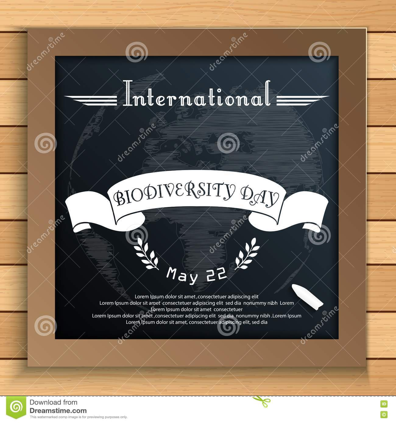 Biodiversity international day with Earth and white ribbon on blackboard