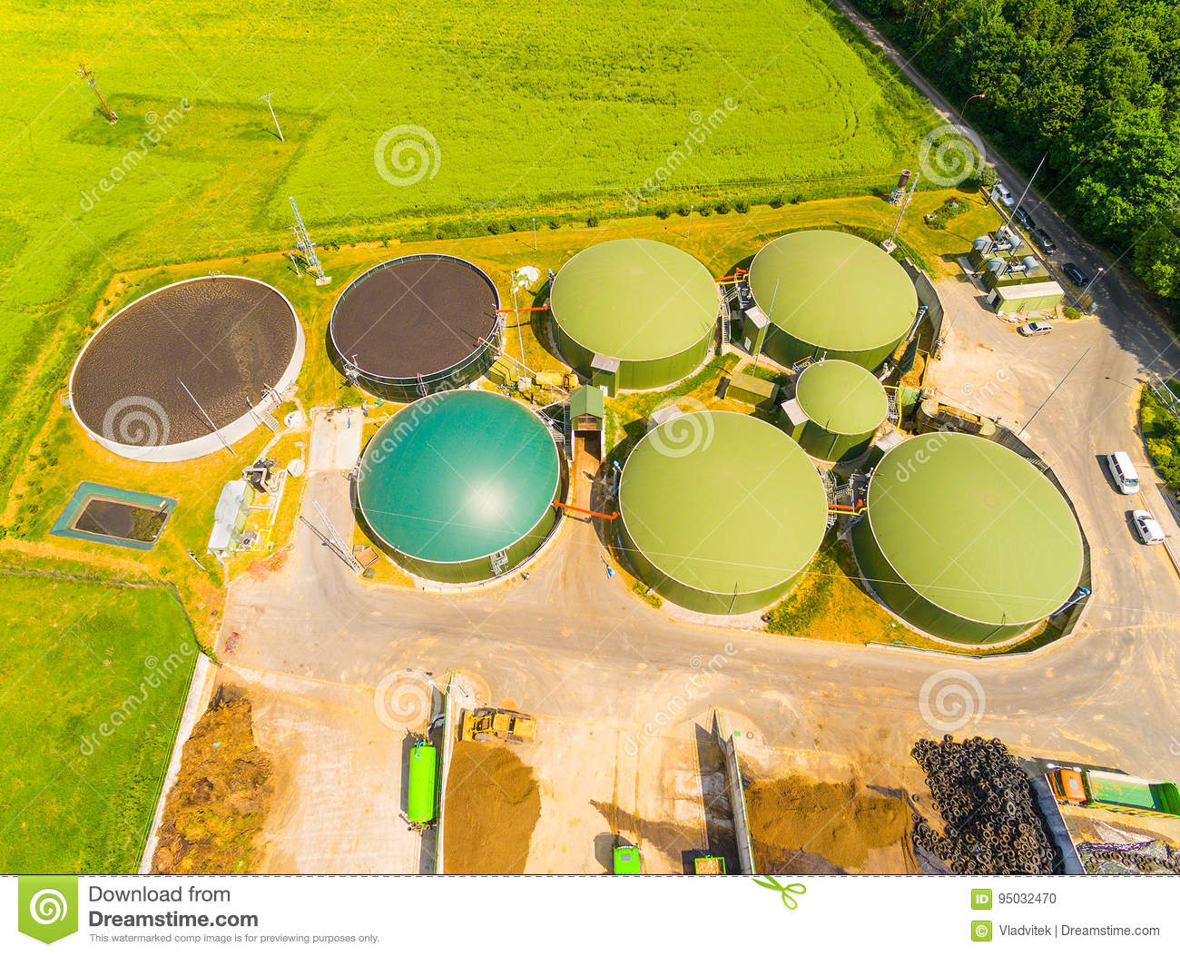 Biogas plant and farm  stock photo  Image of agriculture - 95032470
