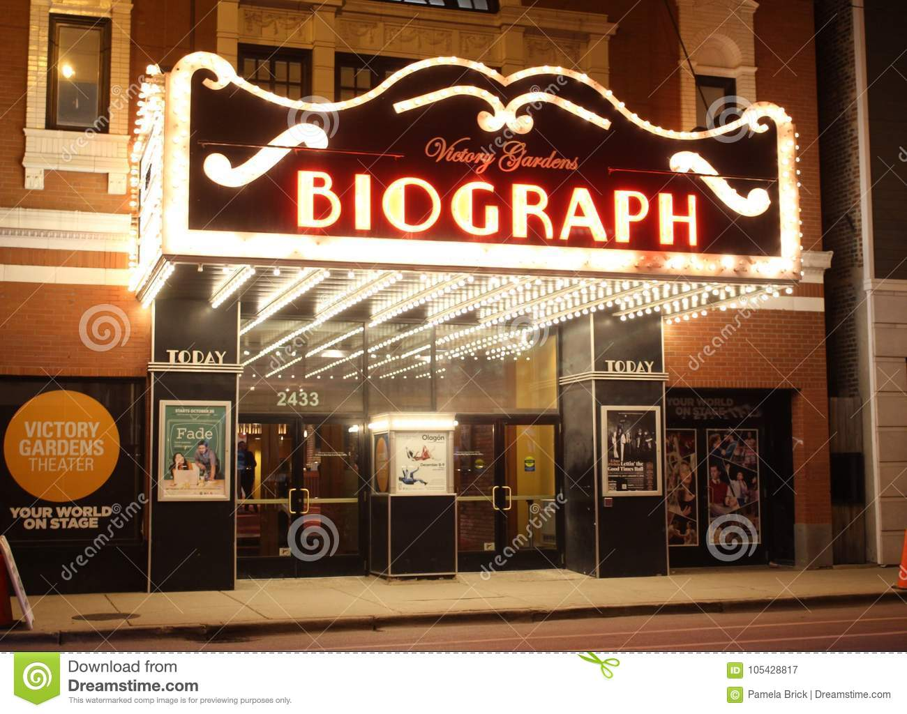 Biograph Theater At Night Chicago Editorial Photography Image Of Drama Victory 105428817