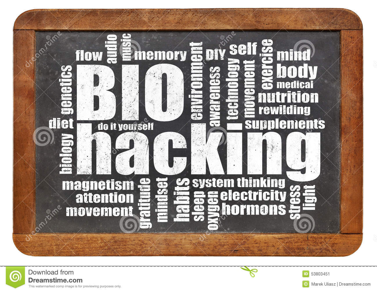 Biohacking word cloud on blackboard