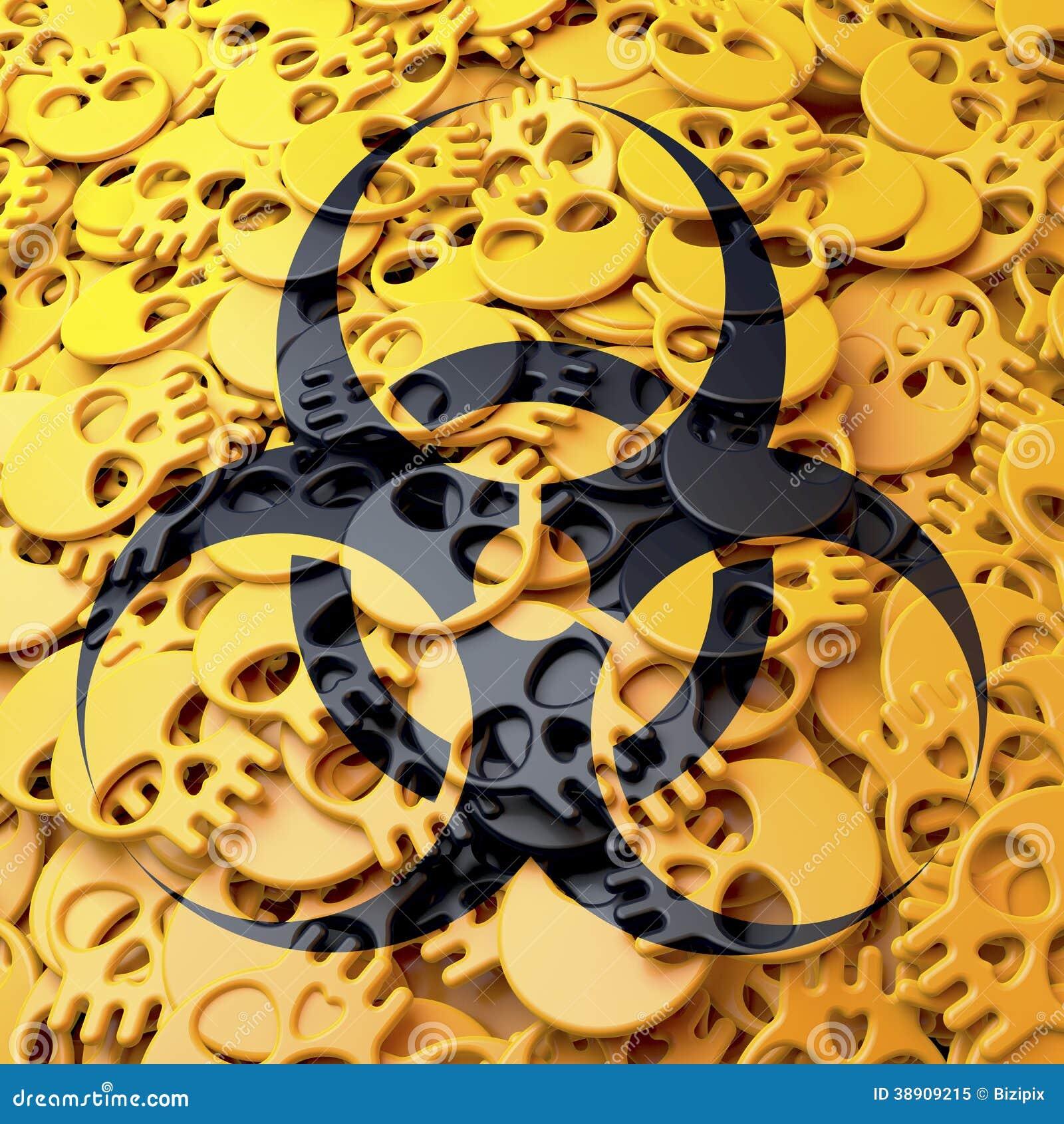 Biohazard предупредительного знака, чернота, желтые черепа