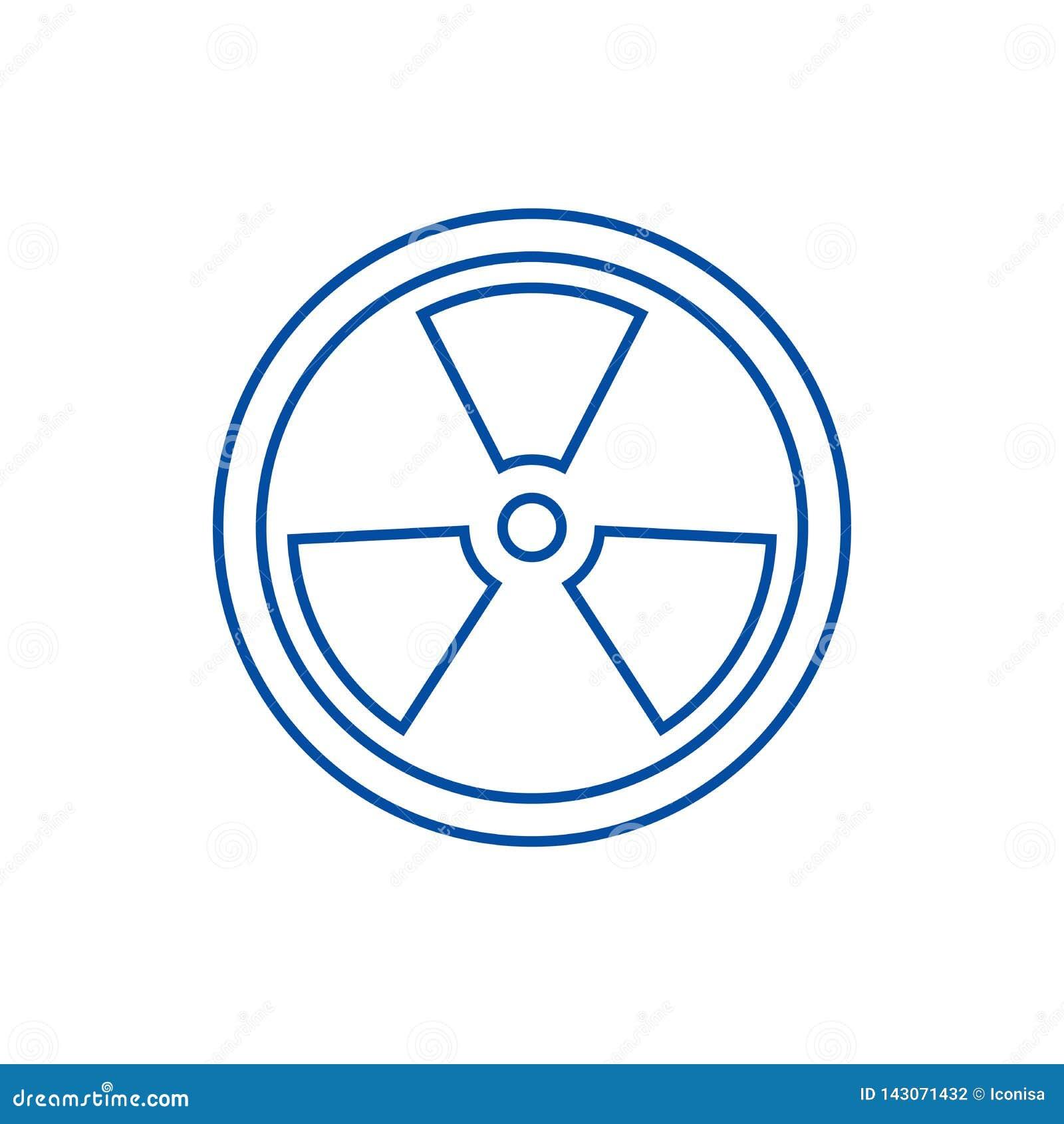 Biohazard, gevaarlijk het pictogramconcept van de stralingslijn Biohazard, gevaarlijk stralings vlak vectorsymbool, teken, overzi