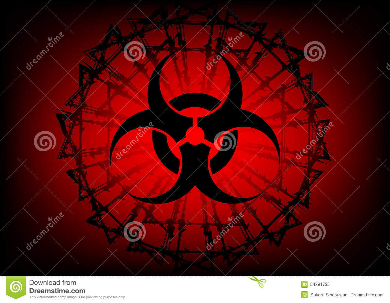 Biohazard symbol and barbed wire on red background stock vector biohazard symbol and barbed wire on red background biocorpaavc Images