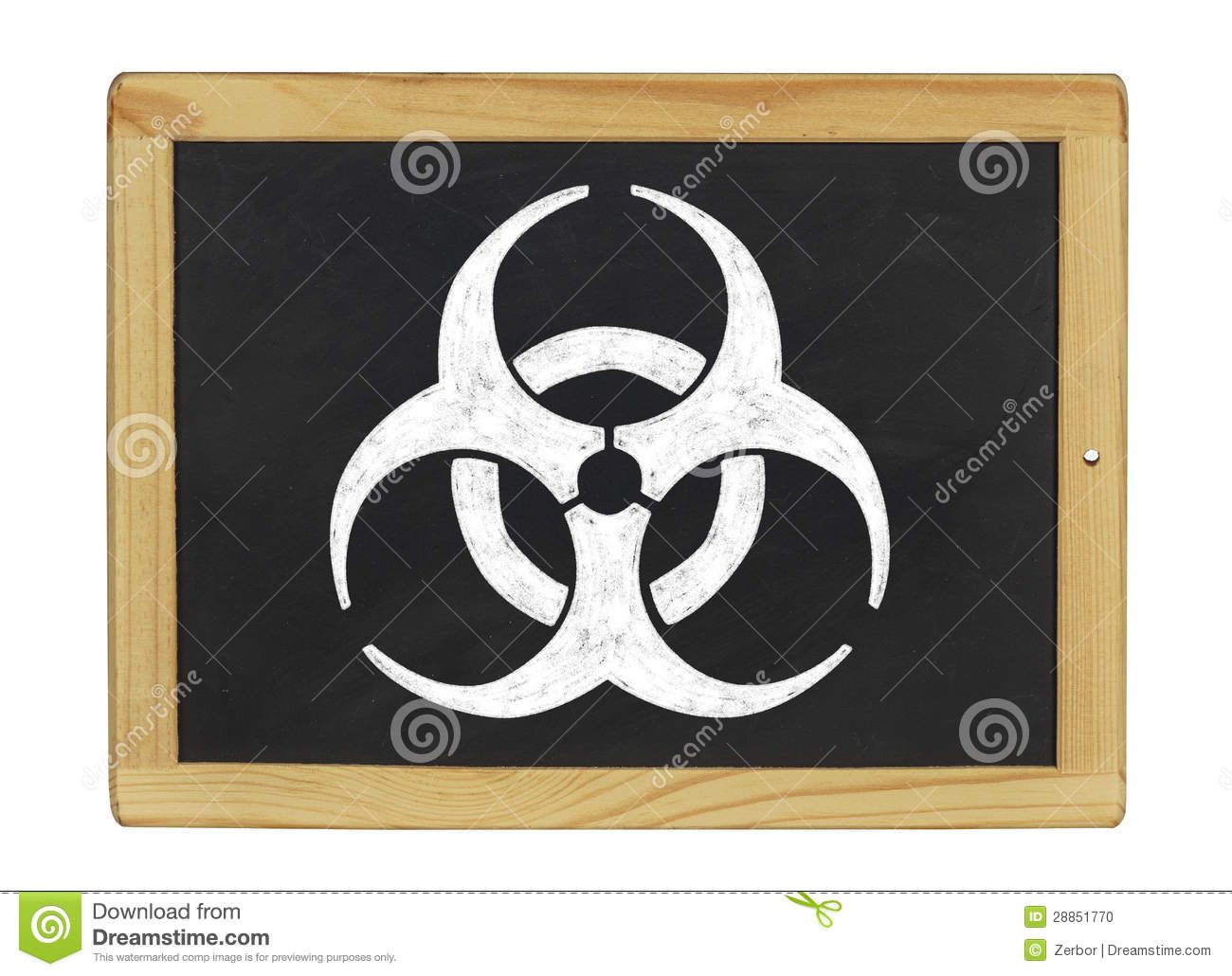 Biohazard symbol on a chalkboard