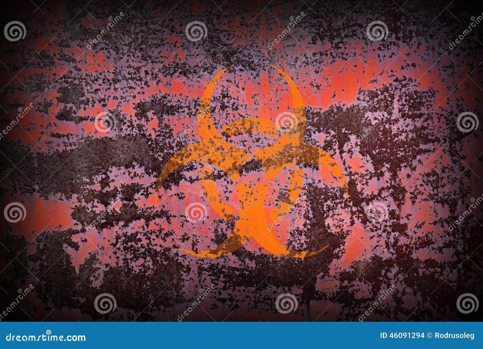 Biohazard Symbol on Old Rusty Metal Surface.