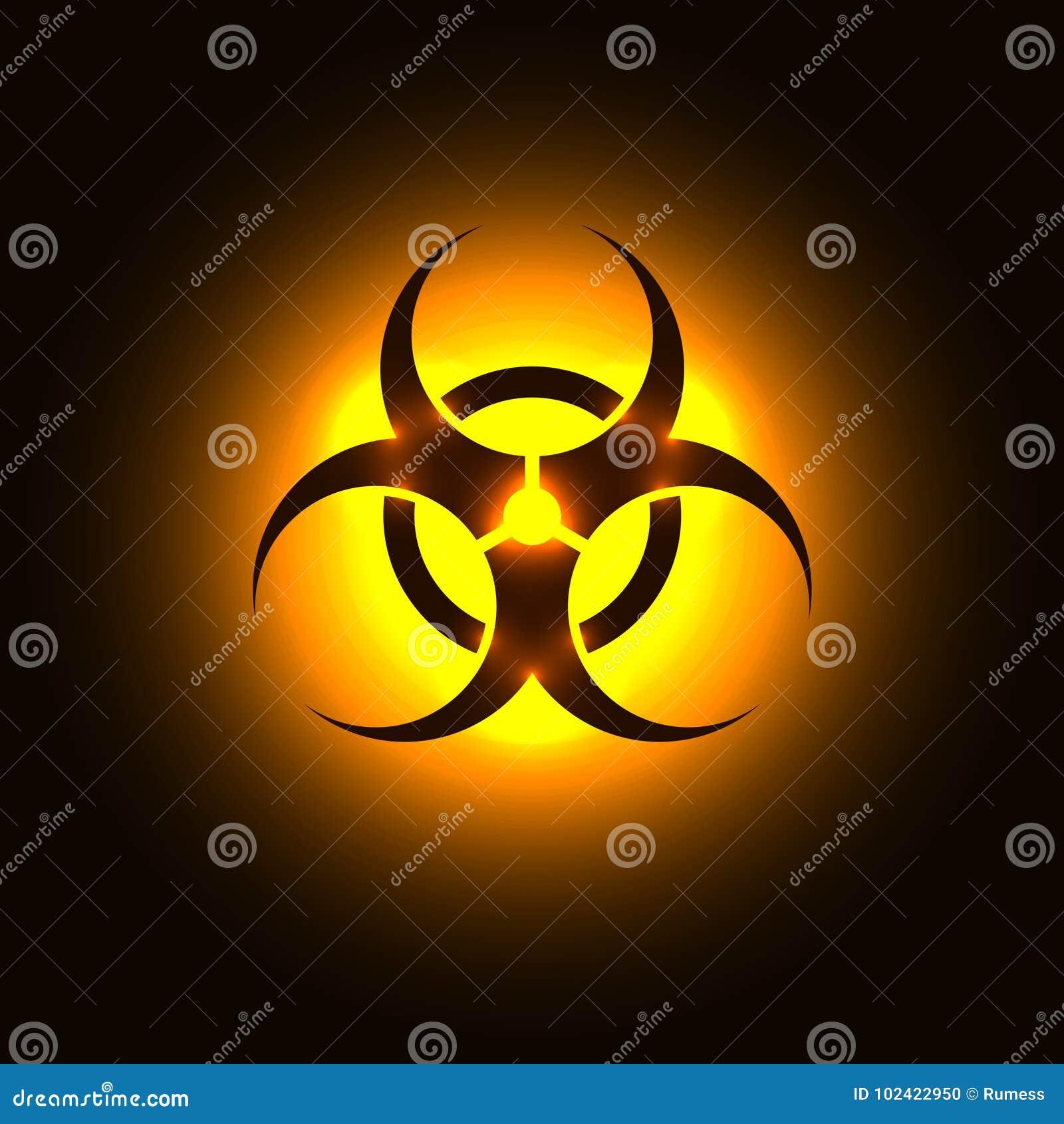 Biohazard Symbol On Orange Glowing Background Stock Vector