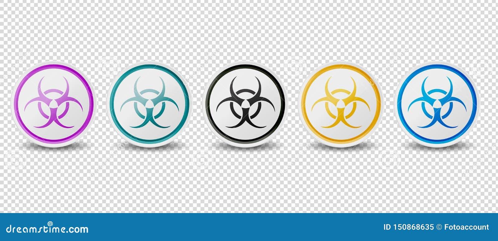 Biohazard symbol Zapina Wektorowe ikony Odizolowywać Na Przejrzystym tle - Różni kolory -