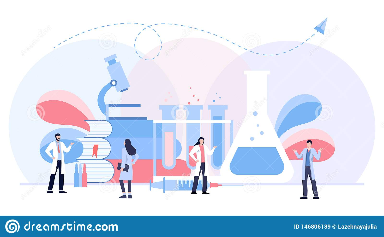 The biological laboratory vector illustration concept, scientis working at laboratorium , vector template background isolated, can
