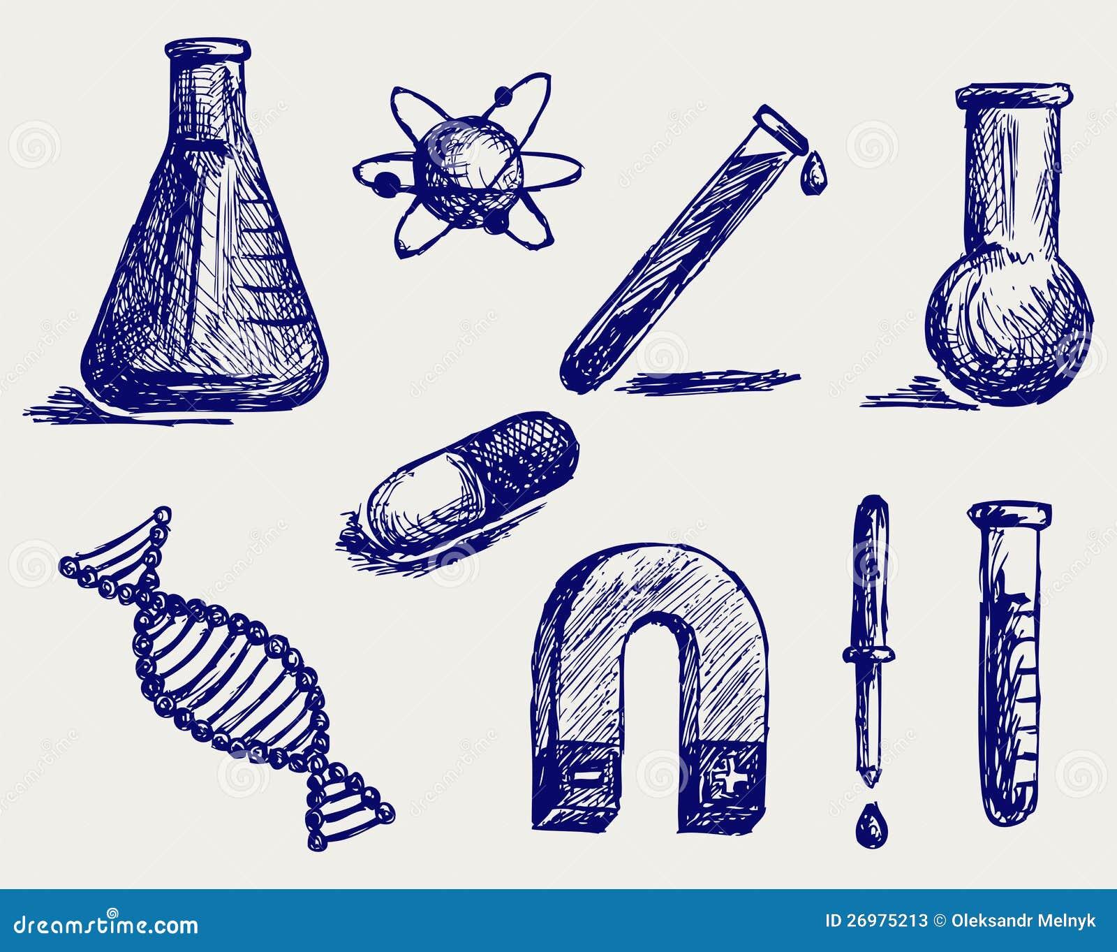Biologie chimie et physique type de griffonnage