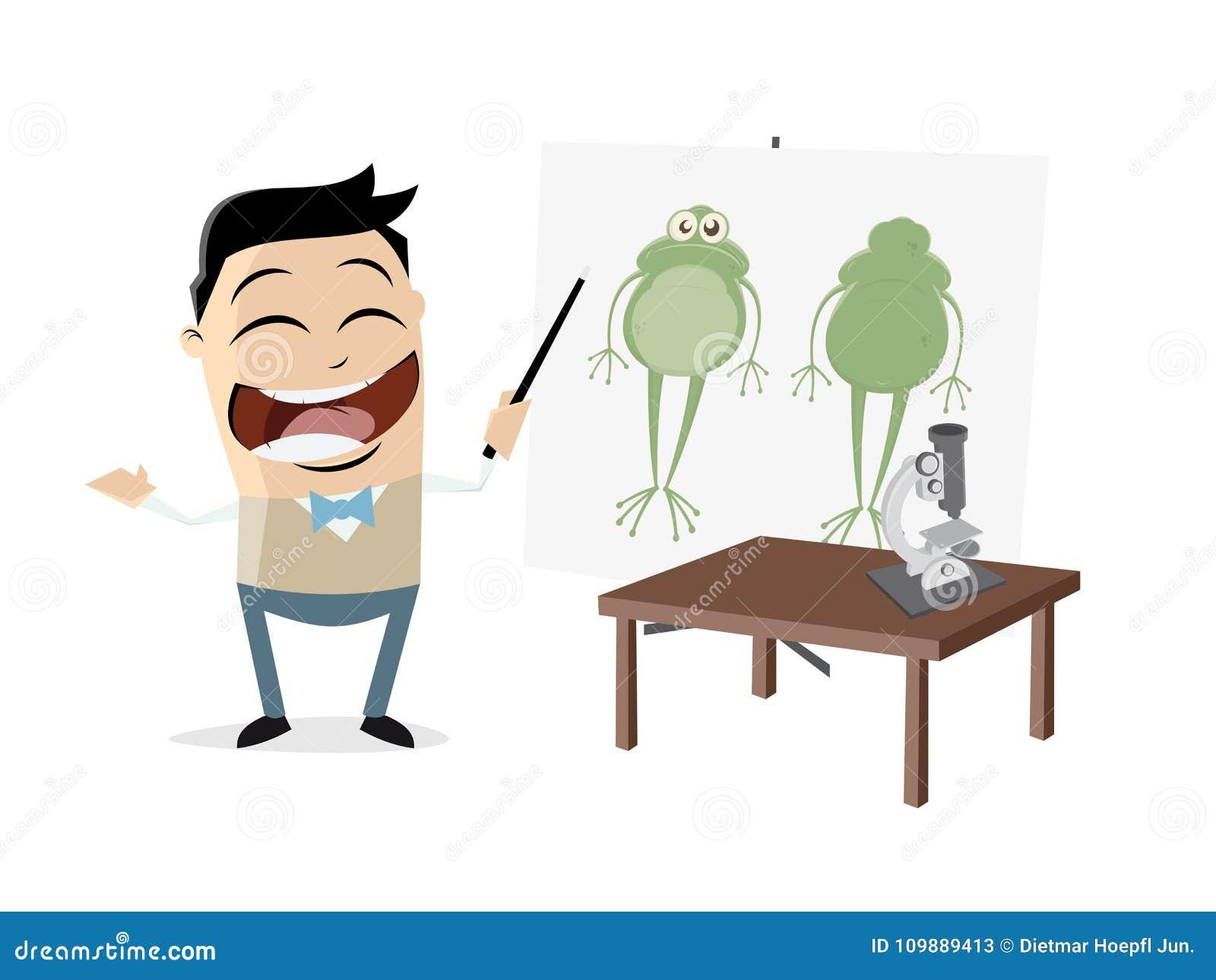 Biologielehrer Zeigt Einen Frosch Vektor Abbildung - Illustration ...