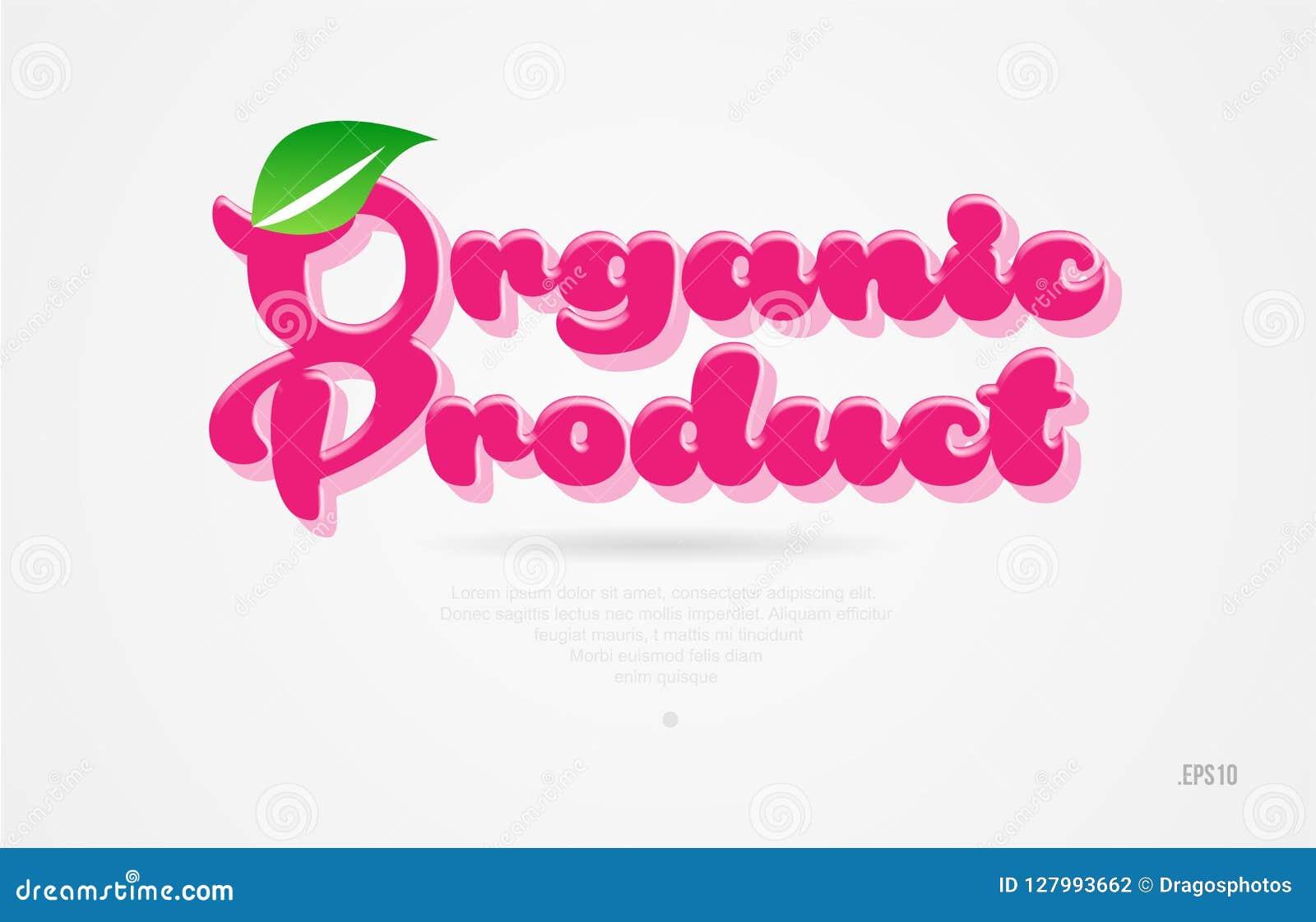 Biologisch product 3d woord met een groen blad en een roze kleurenembleem