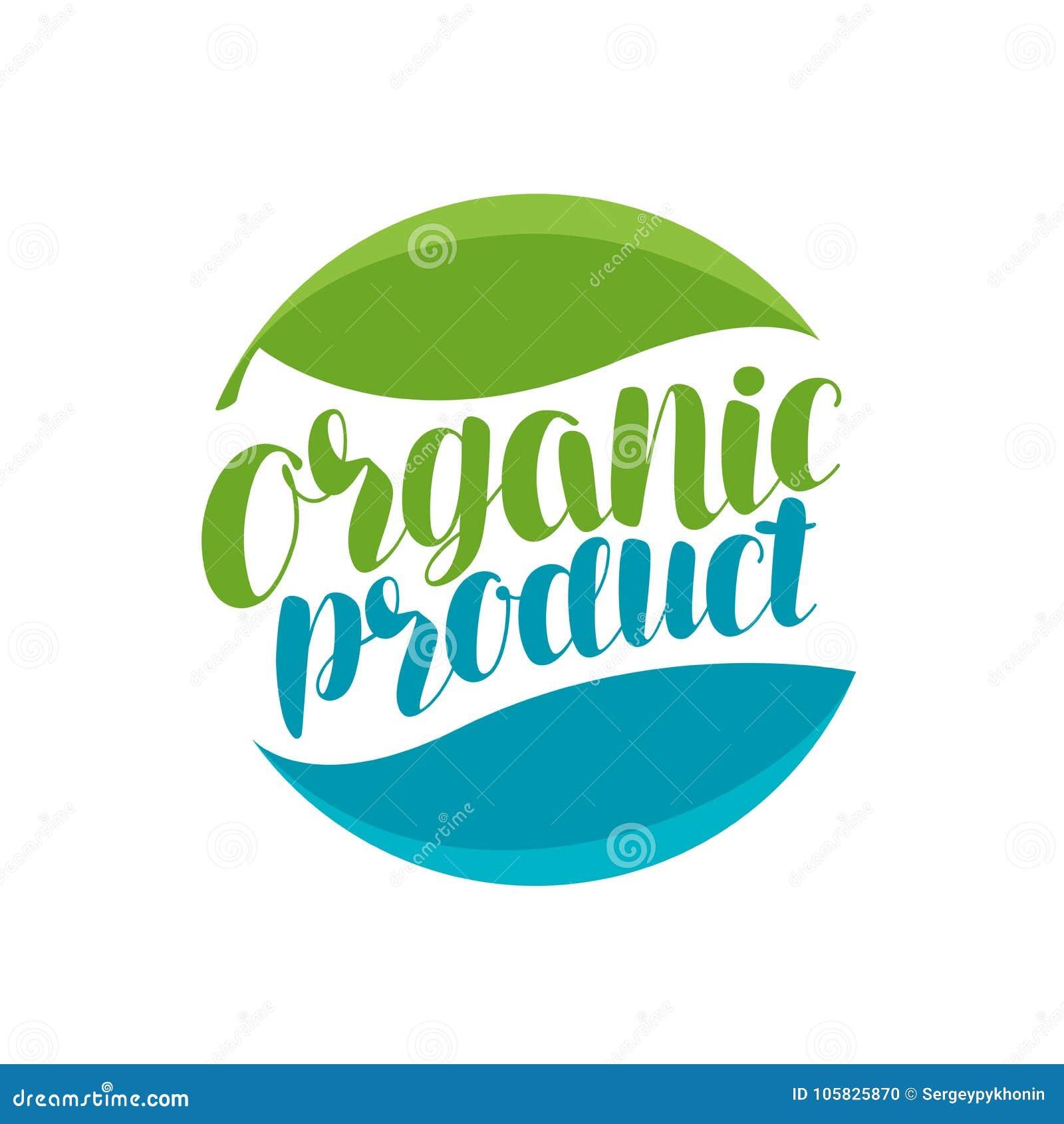 Biologisch product, embleem of etiket Natuurlijk pictogram Typografische ontwerp vectorillustratie