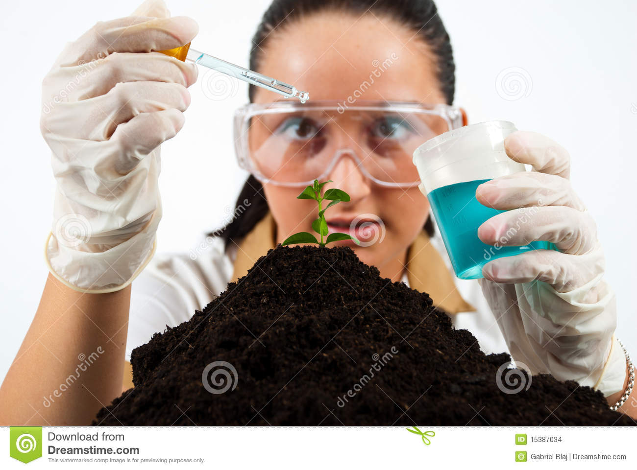 Biologist woman working in laboratory making experiments,check also my ...