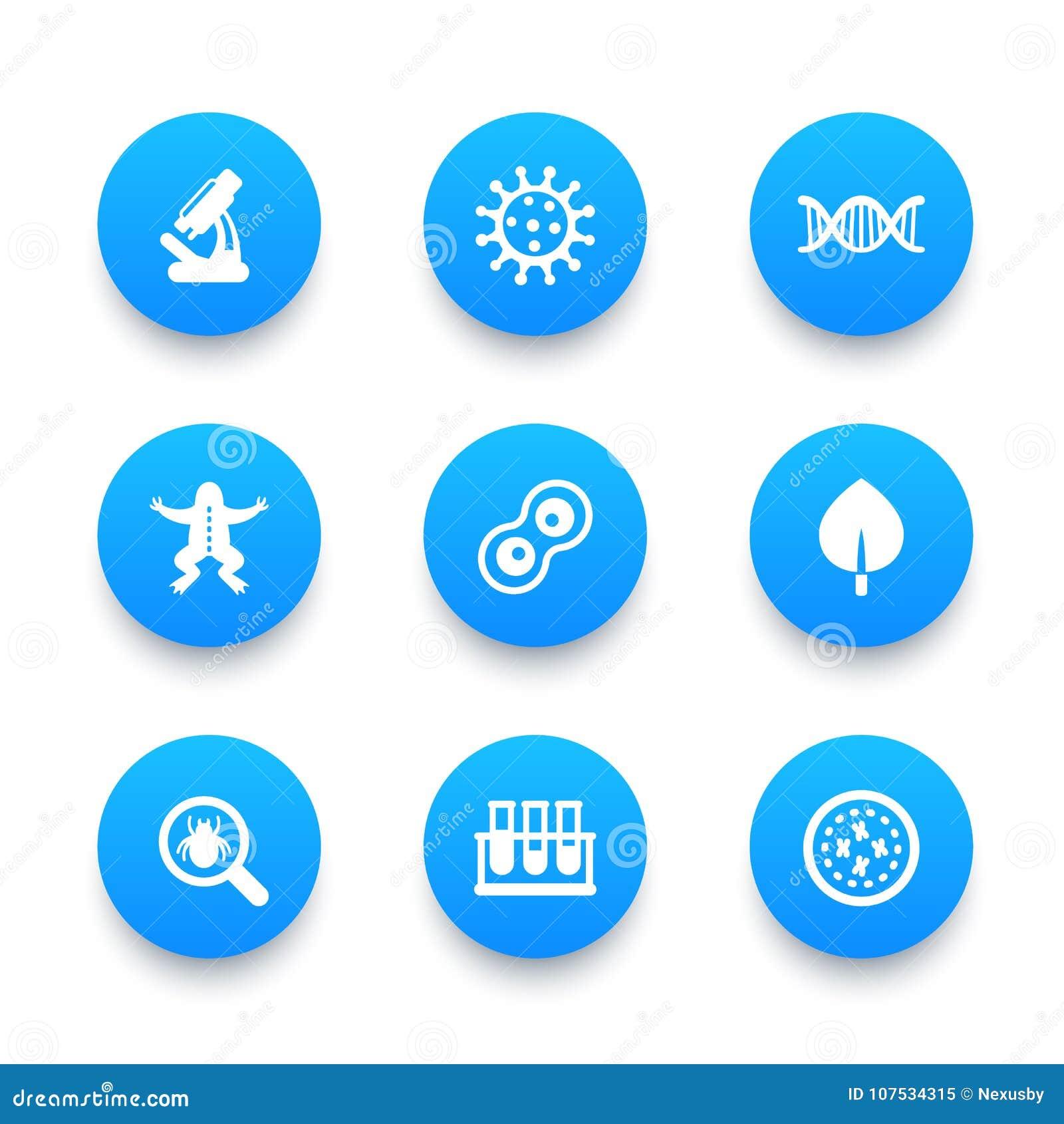 Biology icons set