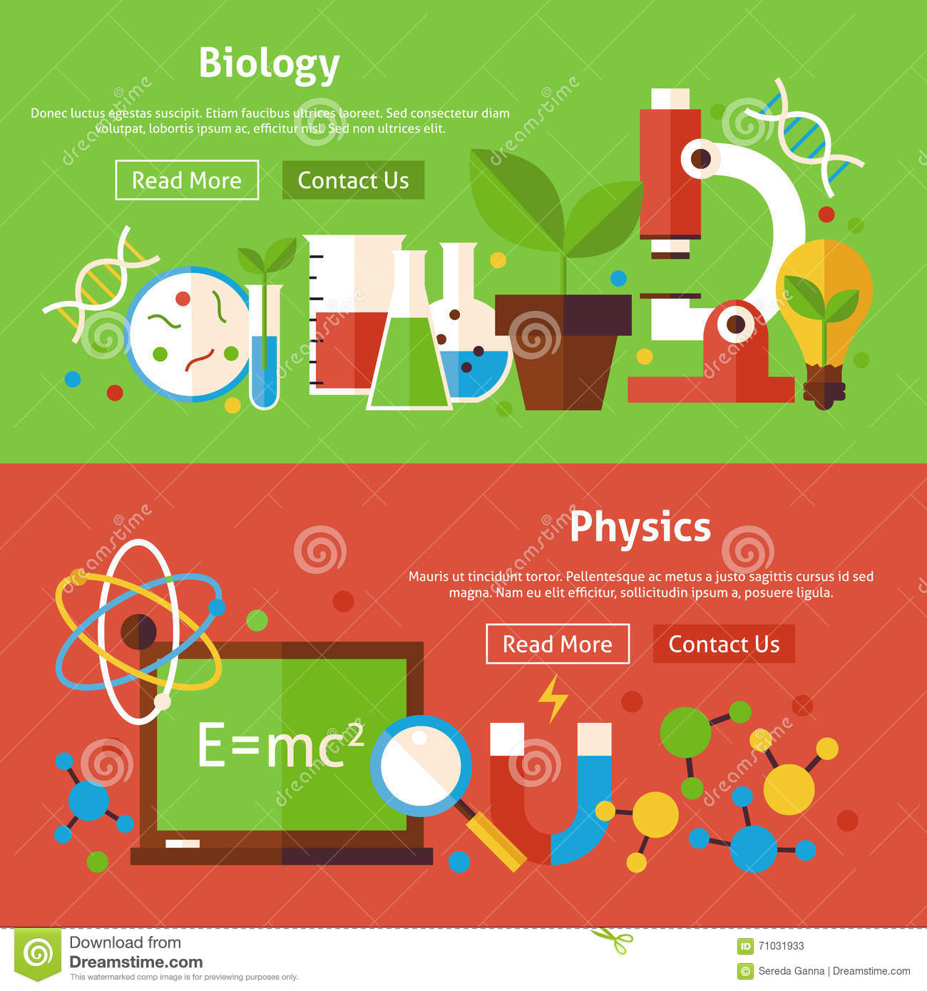 Science Physics From: Biology And Physics Science Flat Website Banners Set Stock