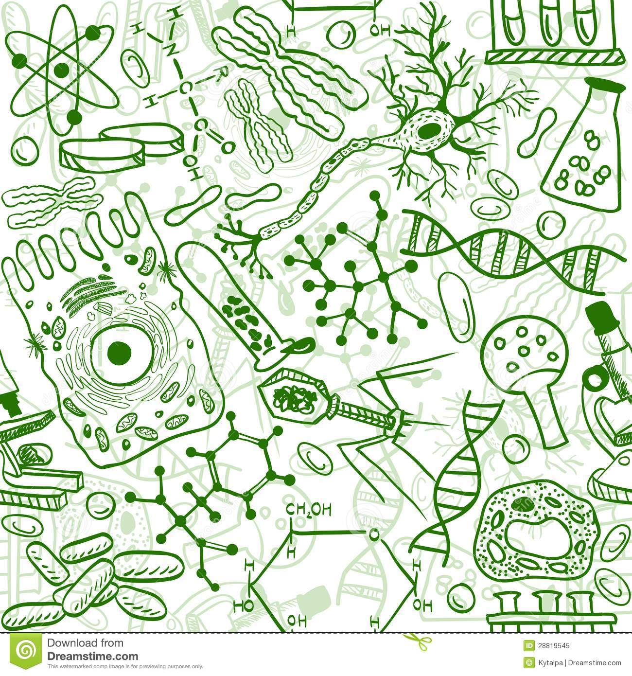 Biology Seamless Pattern Stock Vector Illustration Of Science