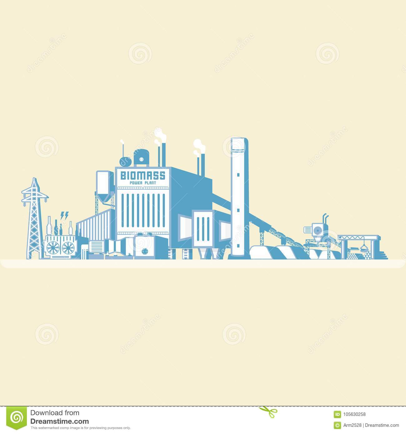 Biomass Energy, Biomass Power Plant Stock Vector - Illustration of ...