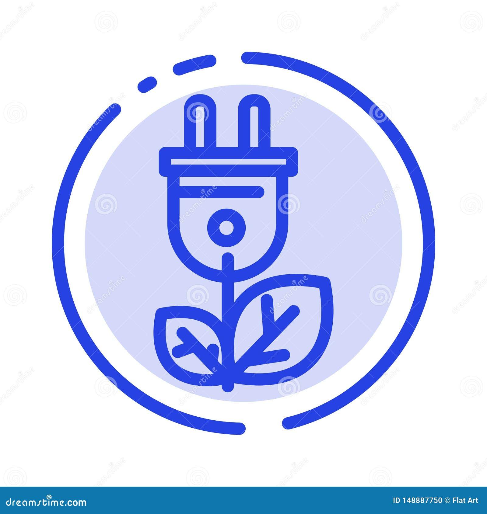 Biomasse, énergie, prise, ligne pointillée bleue ligne icône de puissance