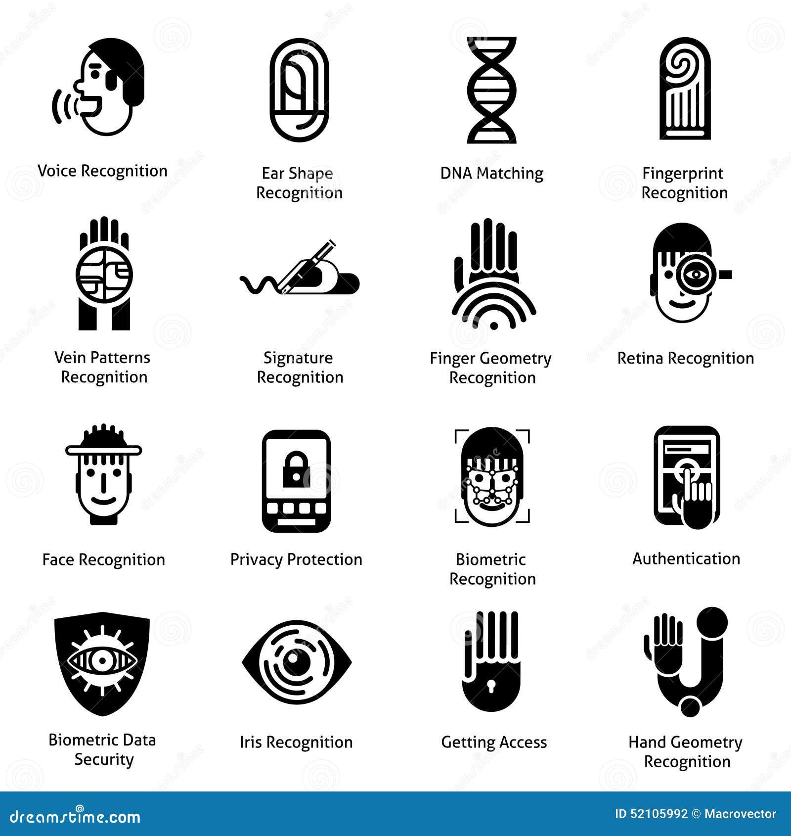 Biometric Authentication Icons Black Stock Vector