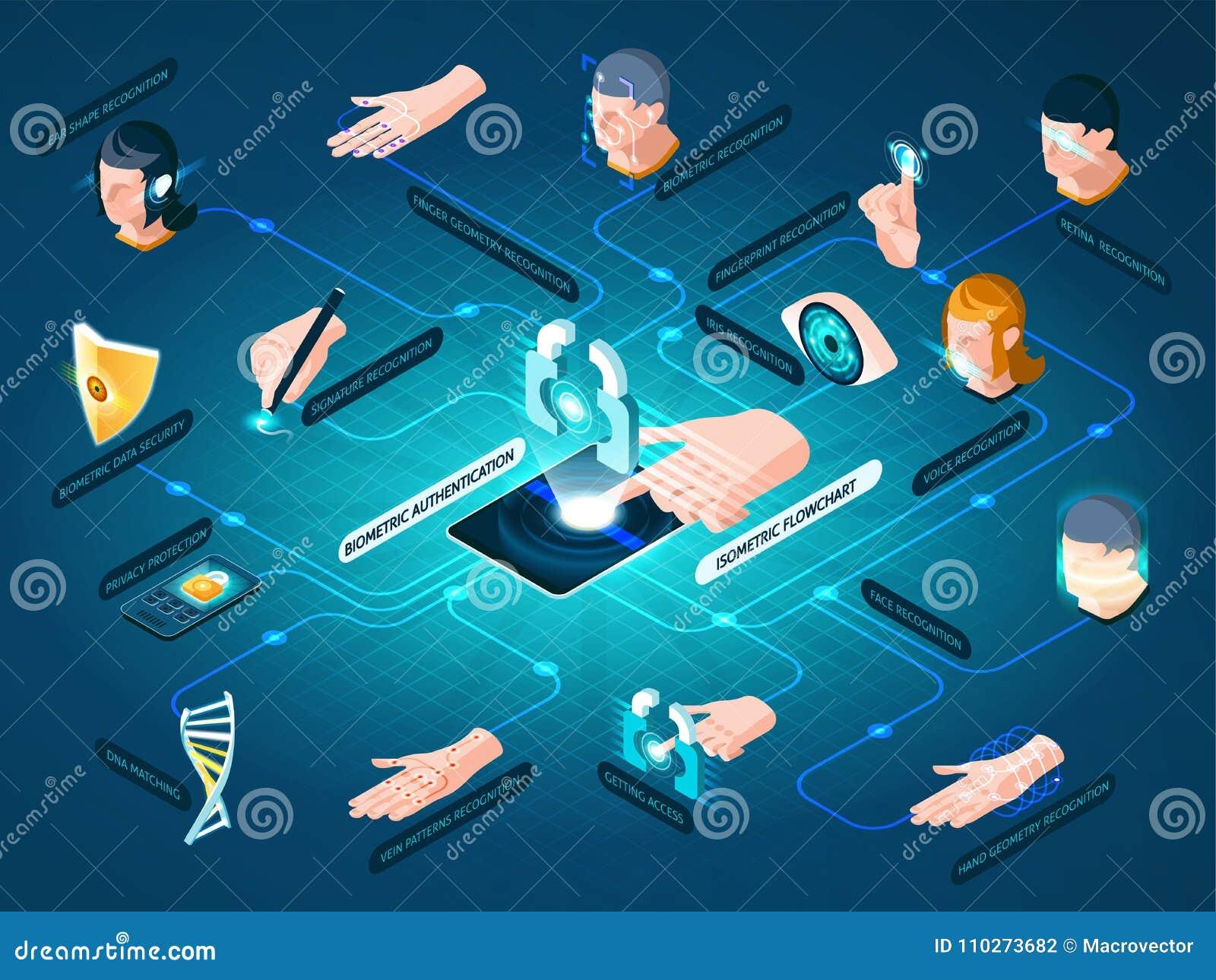 Biometric Authentication Methods Isometric Flowchart