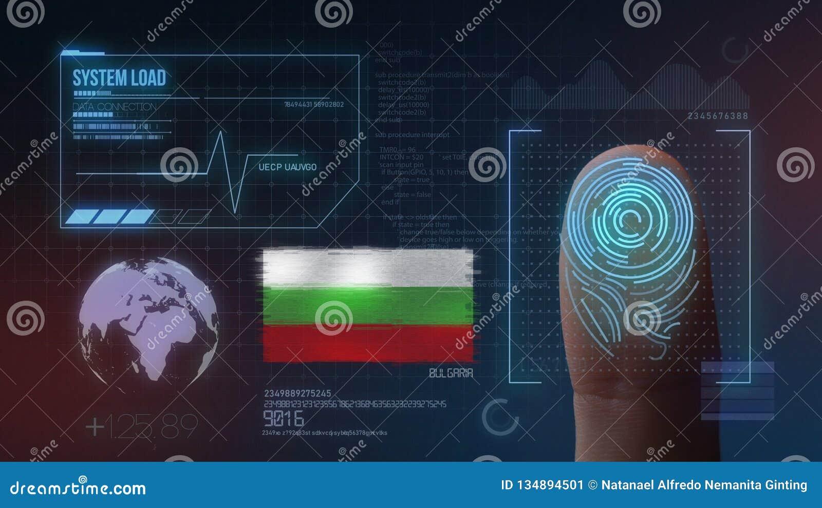 Biometric avläsande IDsystem för fingeravtryck Bulgariennationalitet