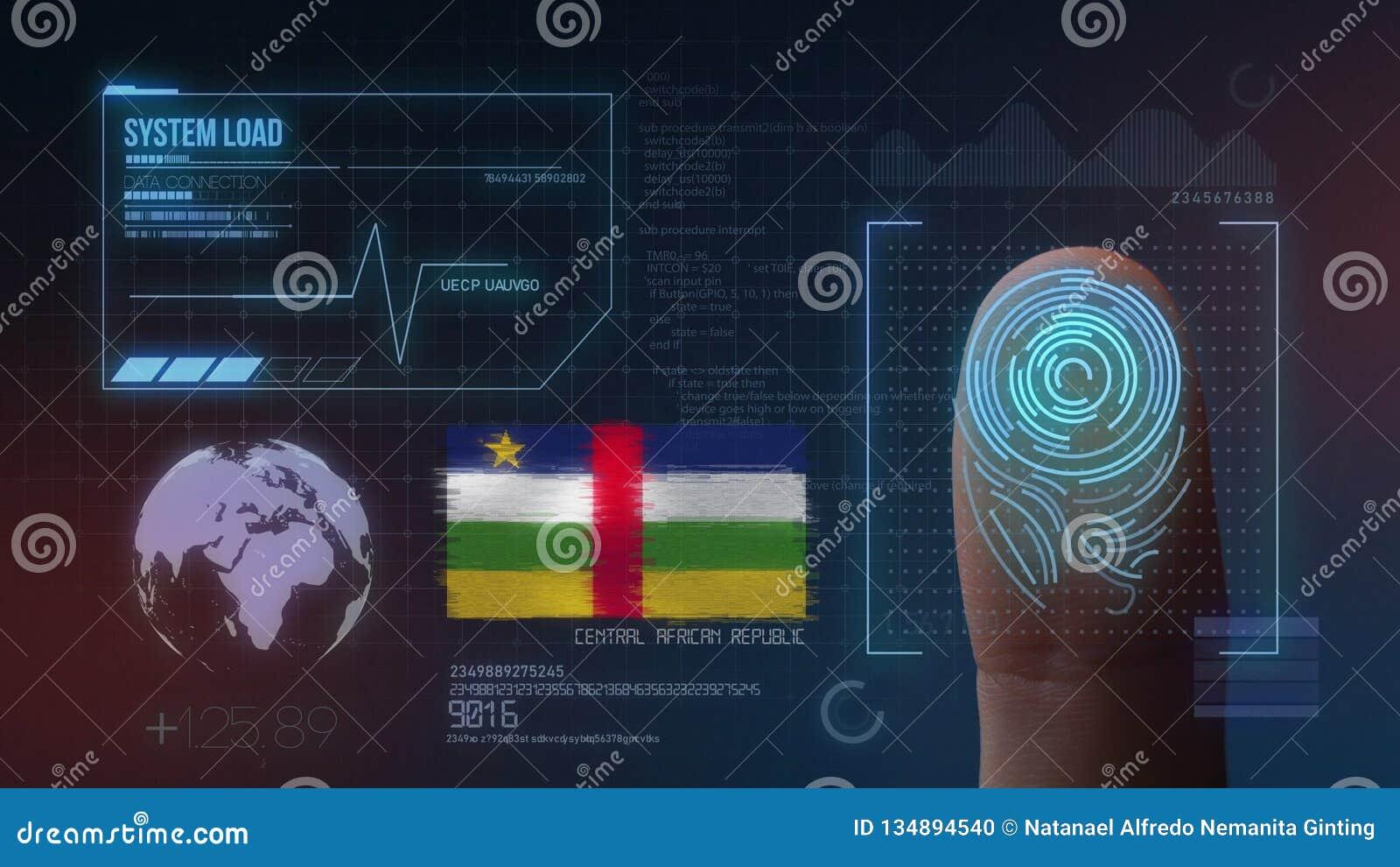 Biometric avläsande IDsystem för fingeravtryck Centralafrikanska republiken nationalitet