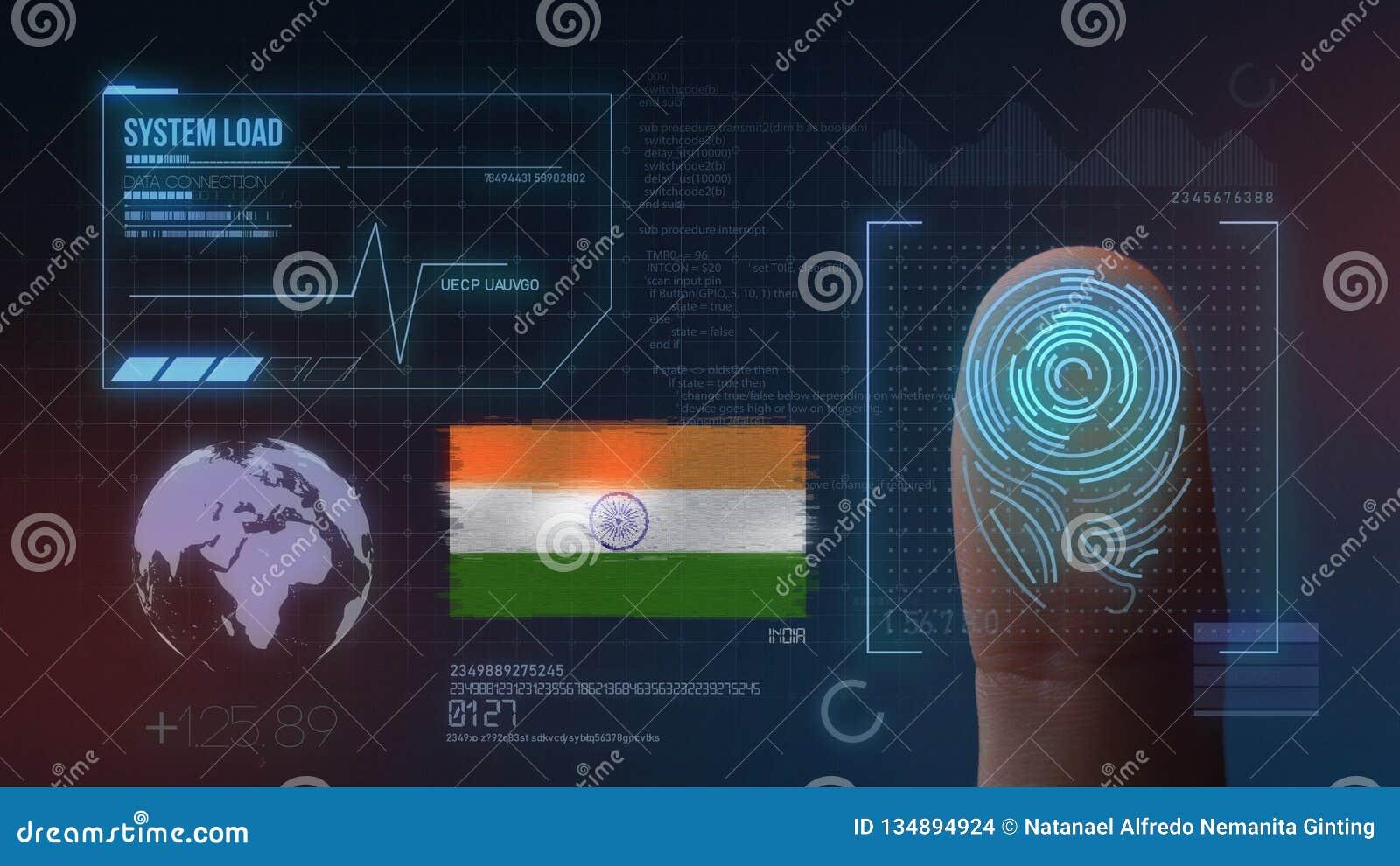 Biometric avläsande IDsystem för fingeravtryck Indien nationalitet