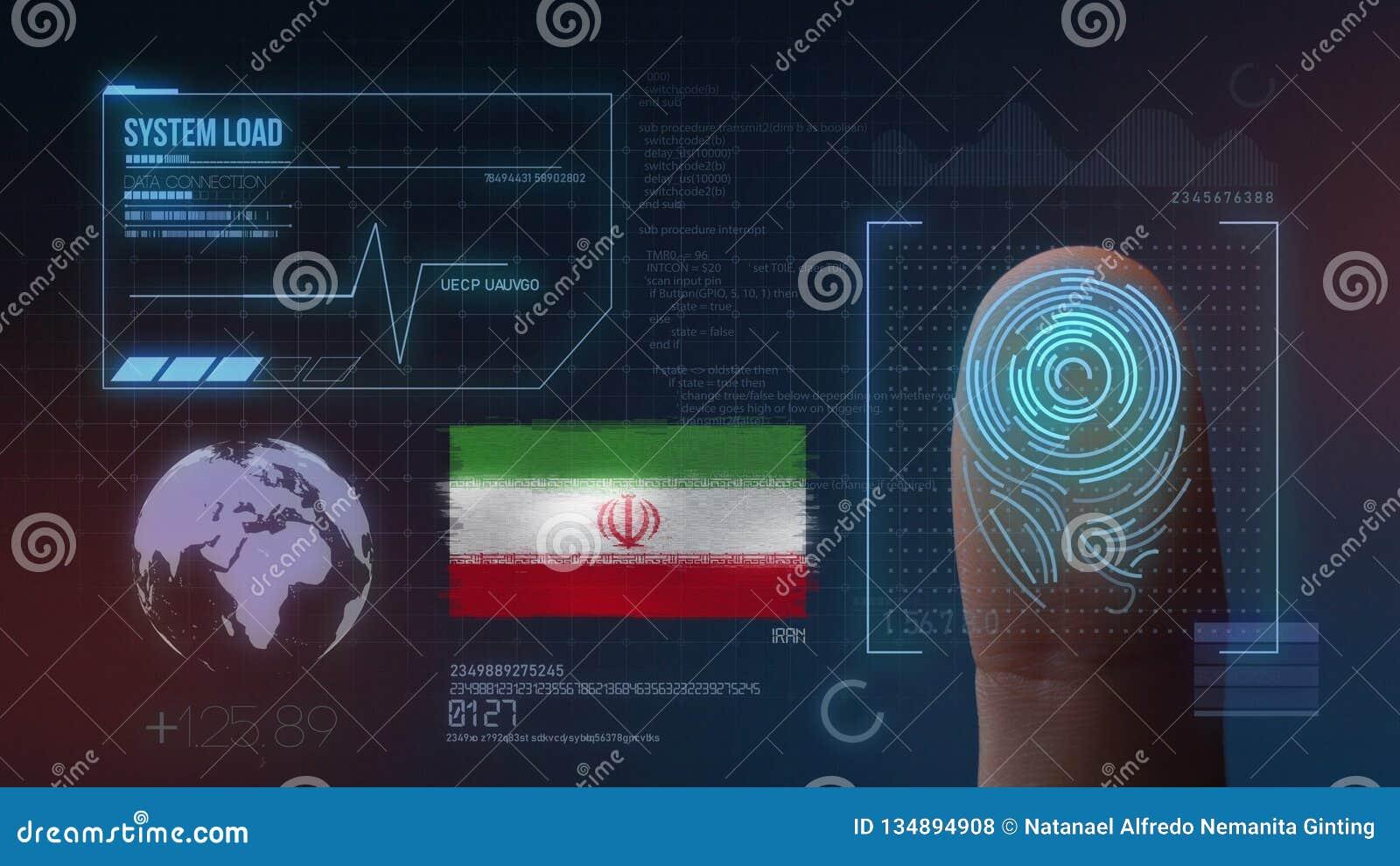Biometric avläsande IDsystem för fingeravtryck Iran nationalitet