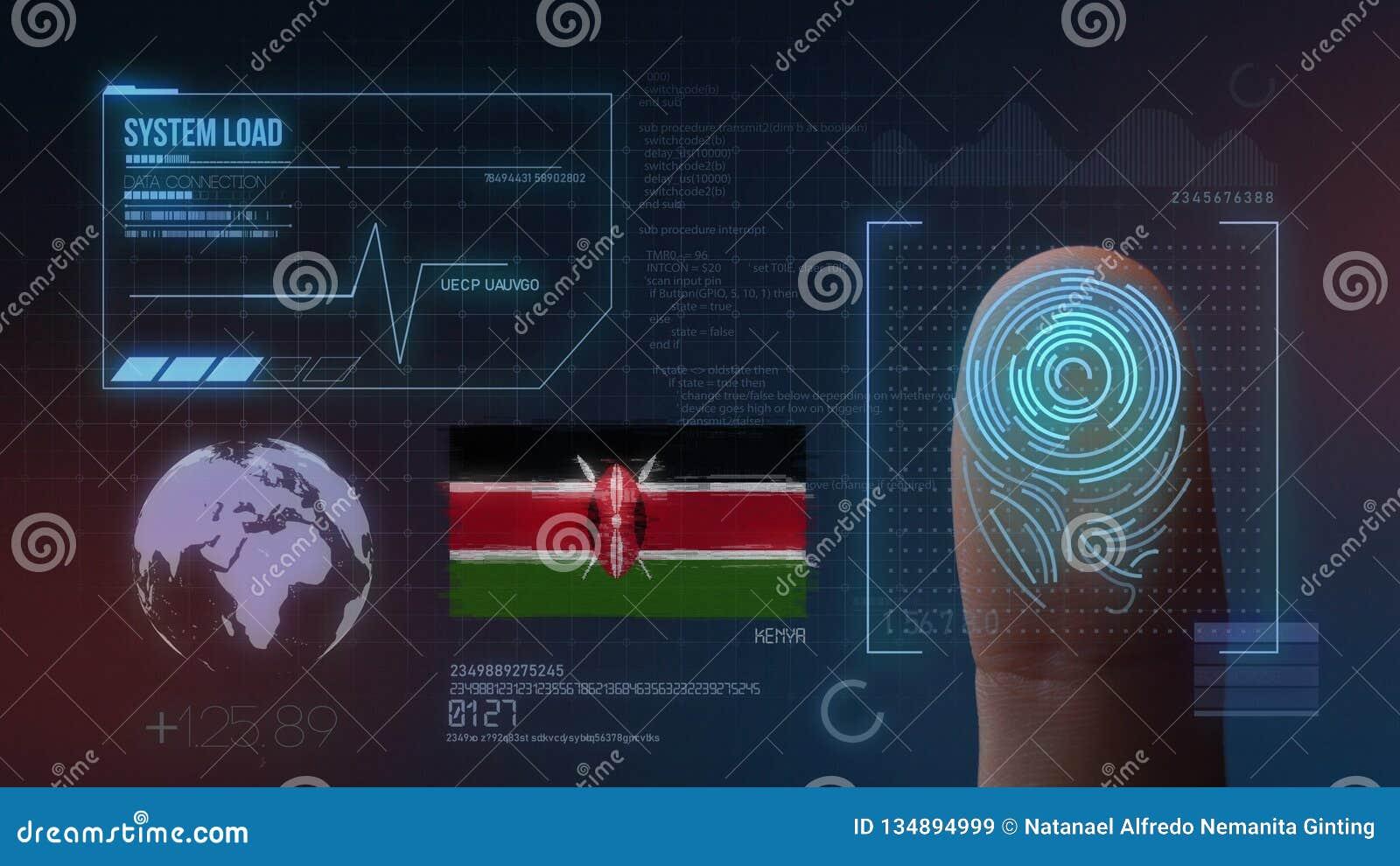 Biometric avläsande IDsystem för fingeravtryck Kenya nationalitet