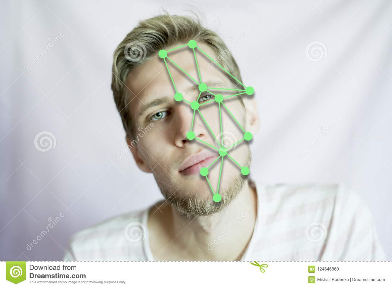 Biometric man face scan identifying for an international passport isolated