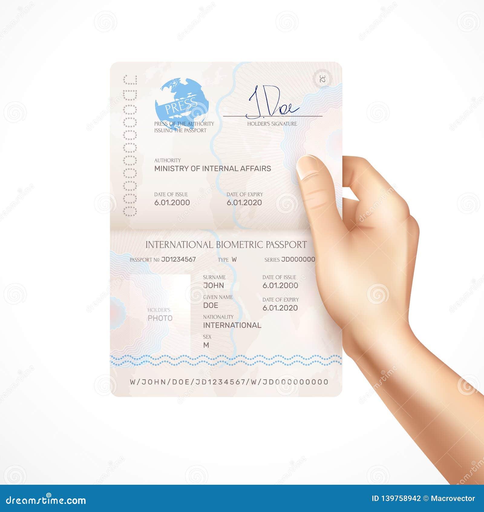 Biometric Passport Mockup in Human Hand stock photography