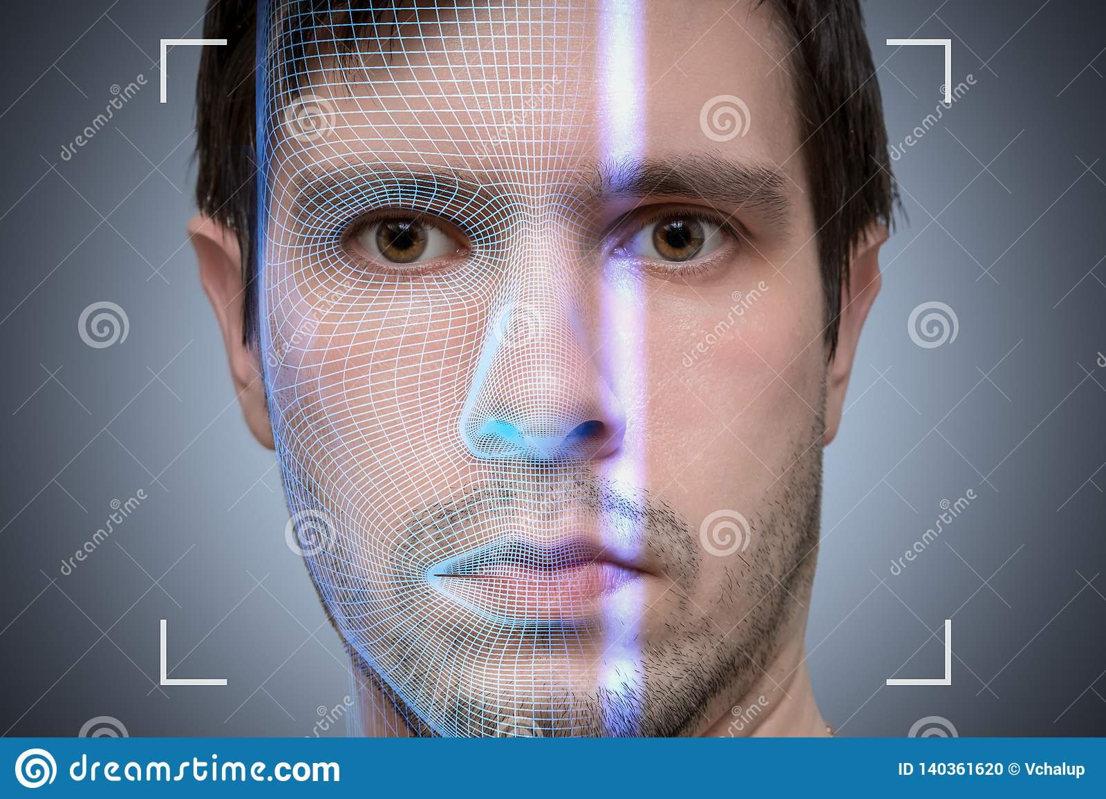 Biometric scanner is scanning face of young man. Artificial intelligence concept.