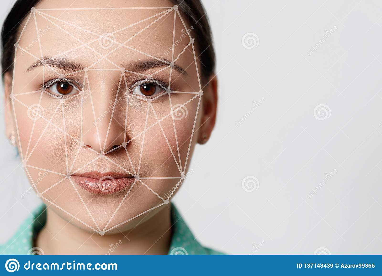 Biometric verification woman face recognition detection security
