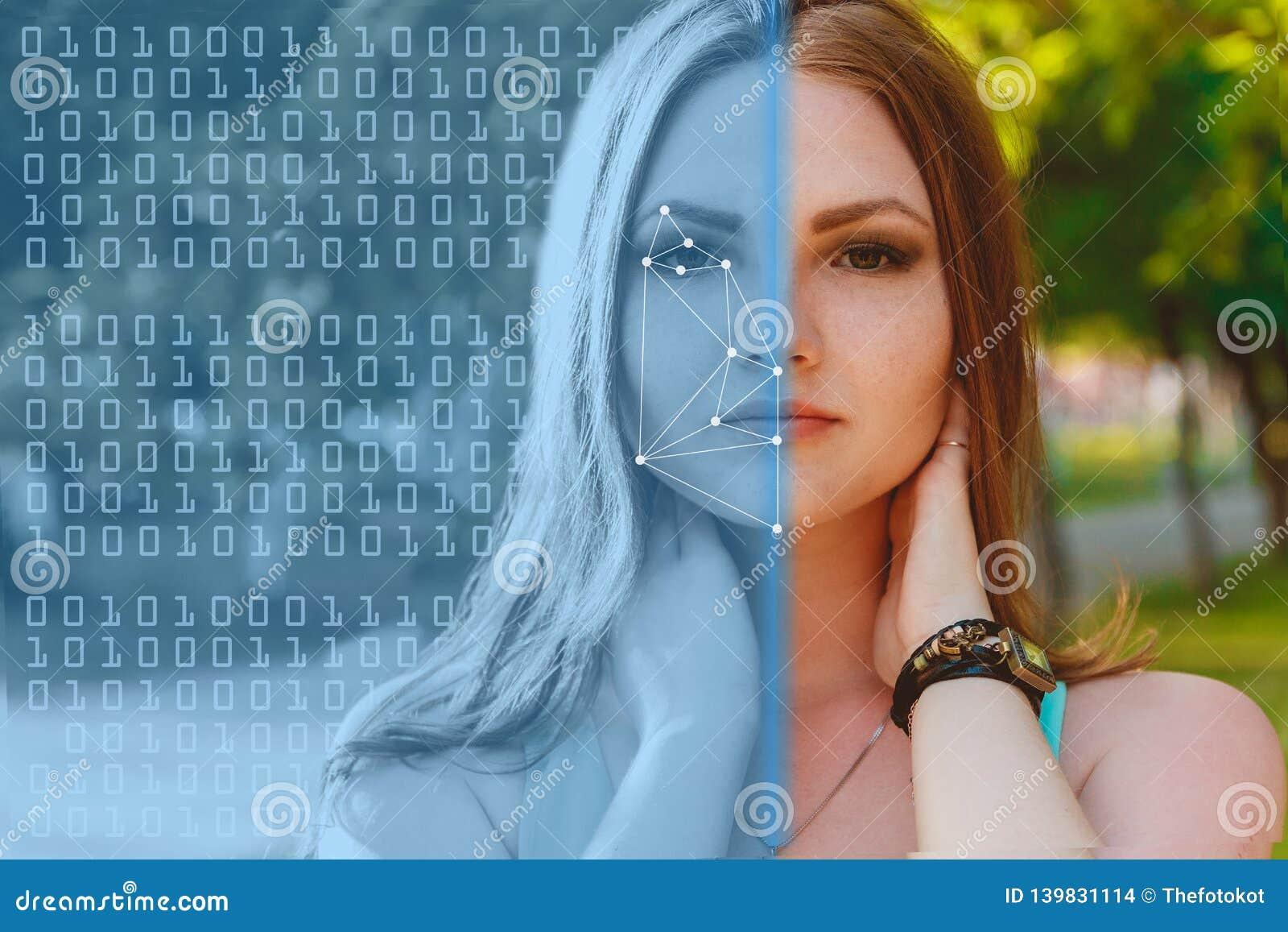 Biometrische Controle Jonge Vrouw 15 Het concept een nieuwe technologie van gezichtserkenning op veelhoekig net
