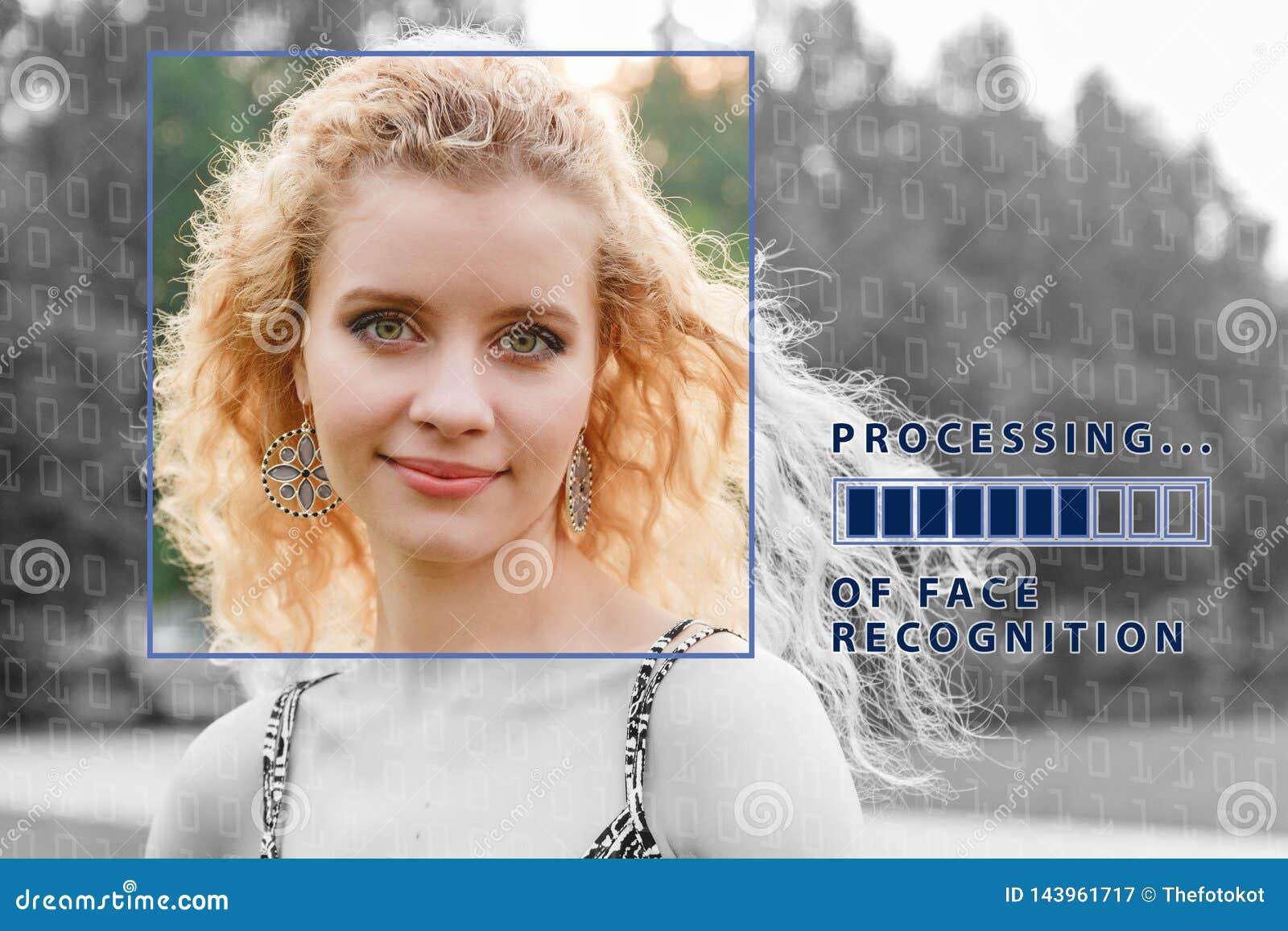 Biometrische Controle jonge vrouw met statusbalk Het concept een nieuwe technologie van gezichtserkenning