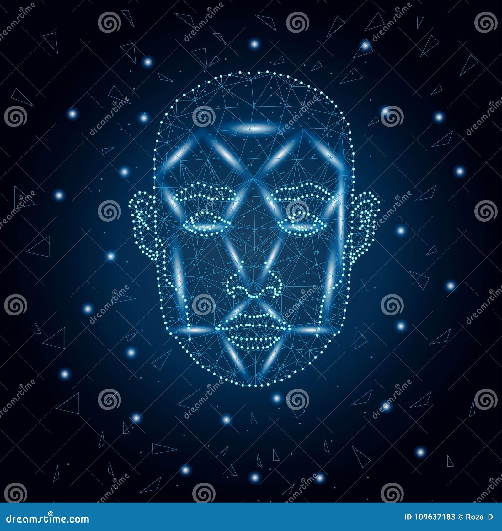 Biometrische identificatie, blauw 3 van het mensengezicht