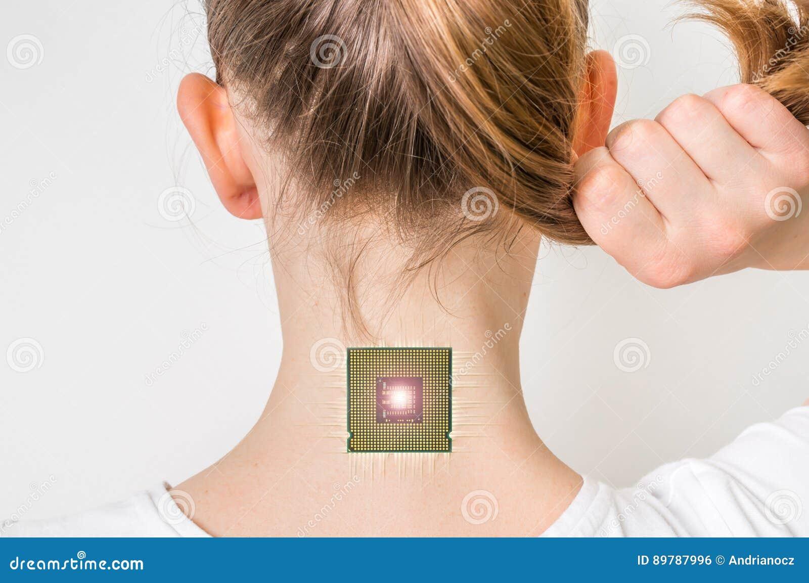 Bionic Microchip Inside Human Body Cybernetics Concept Stock Photo