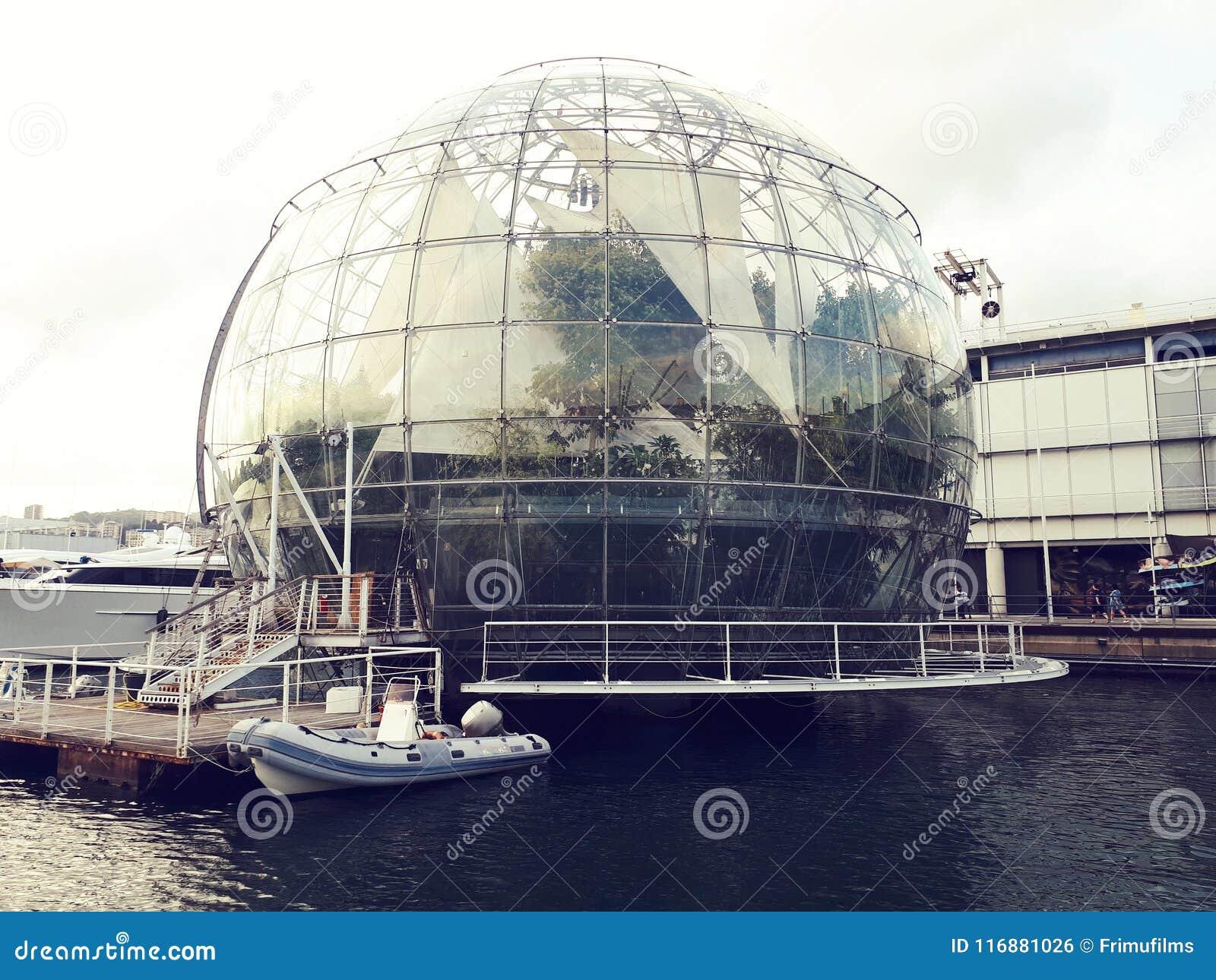 Biosfera dome in genoa is a giant glass ball