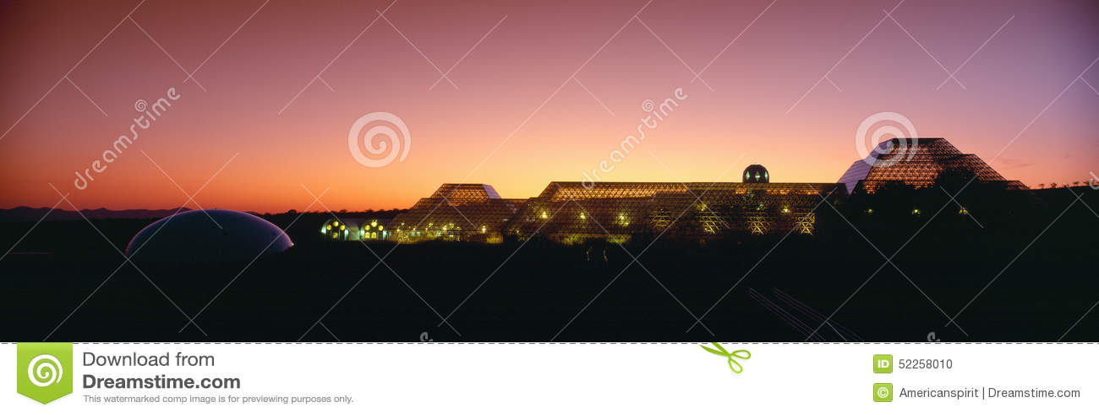 Biosphere 2 at Sunset, Arizona