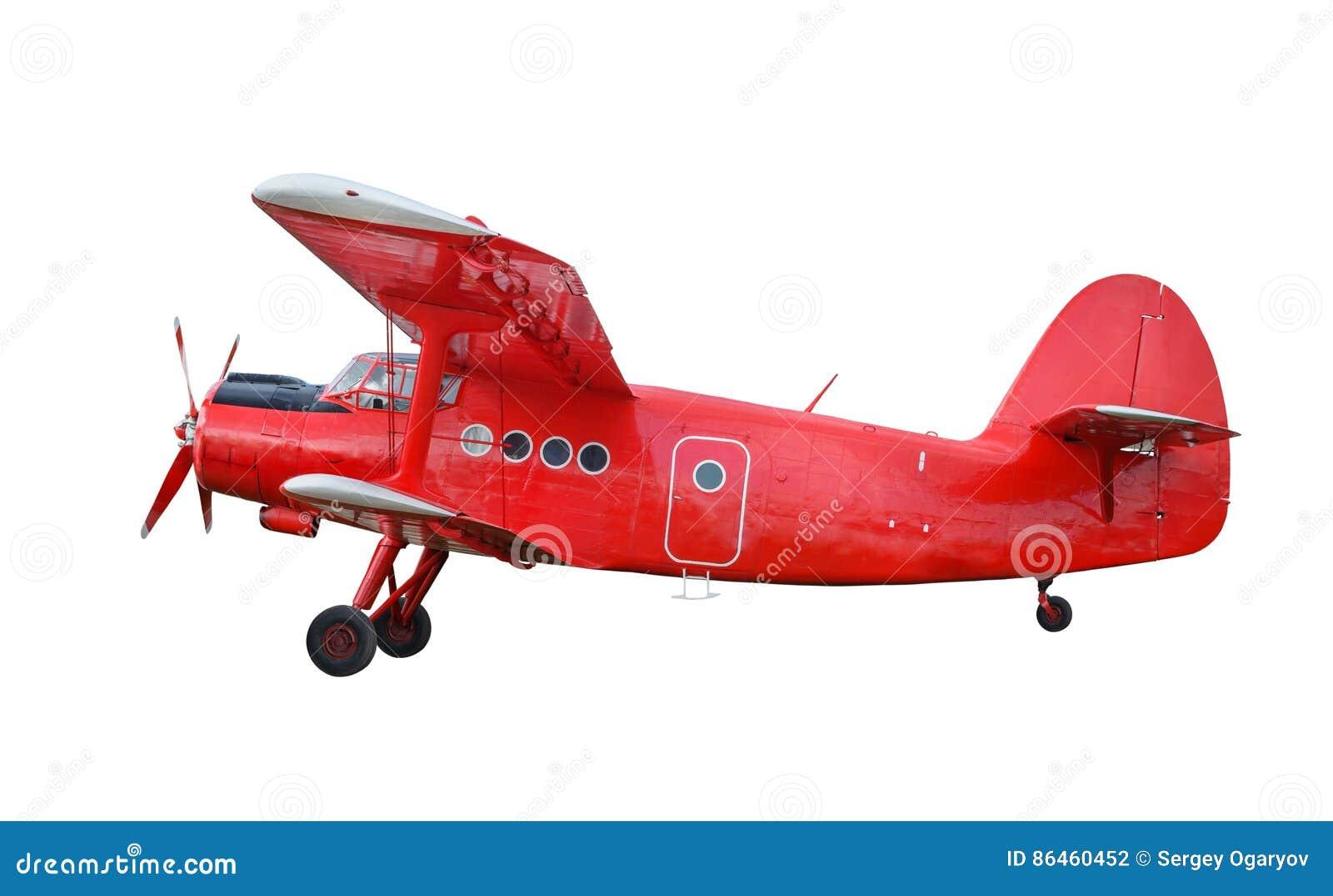 Biplan rouge d avion avec le moteur à piston