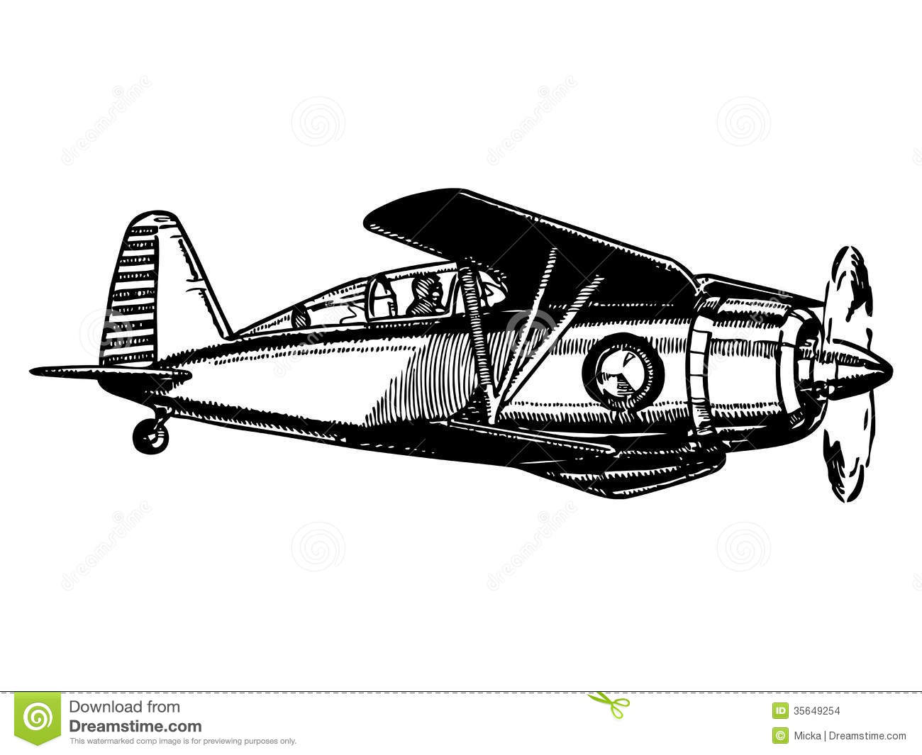 Vintage Airplane Coloring Page Biplane aircraft in fl...