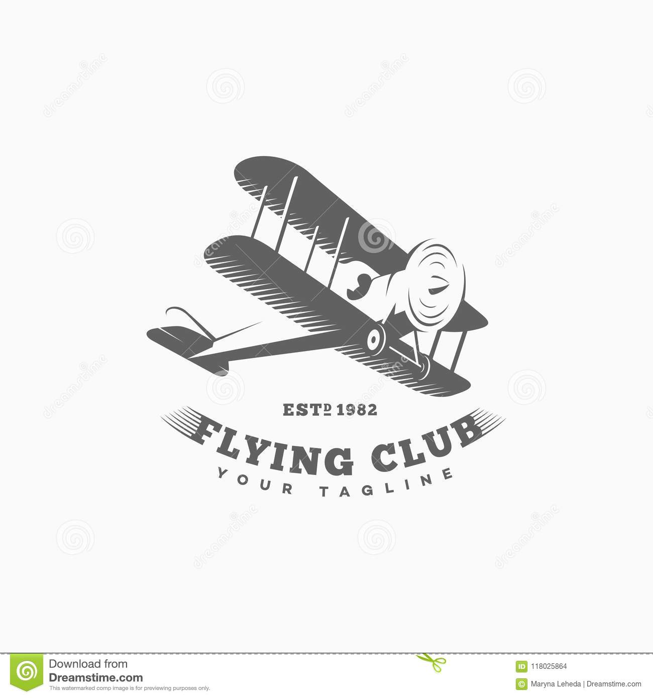 vintage airplane logo template stock vector illustration of