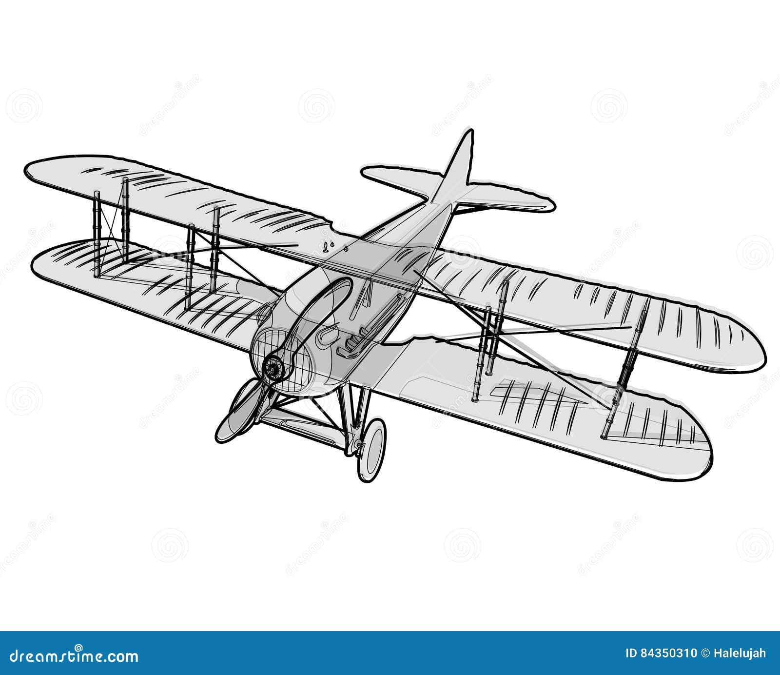 biplano da guerra mundial com esboço preto hélice dos