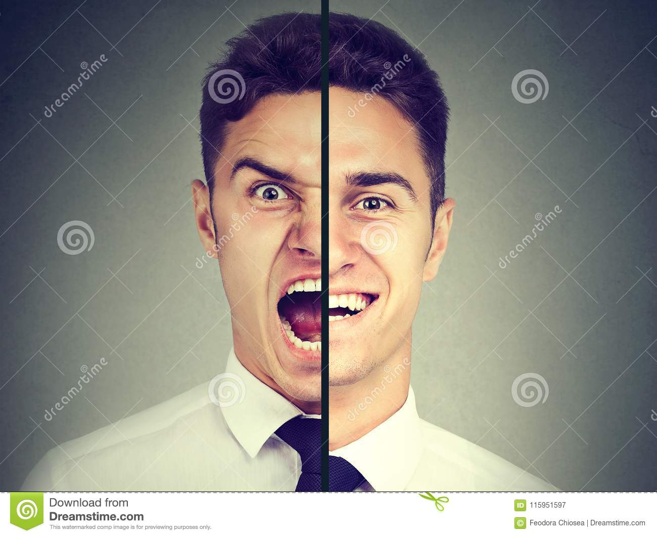 Bipolar disorder. Business man with double face expression