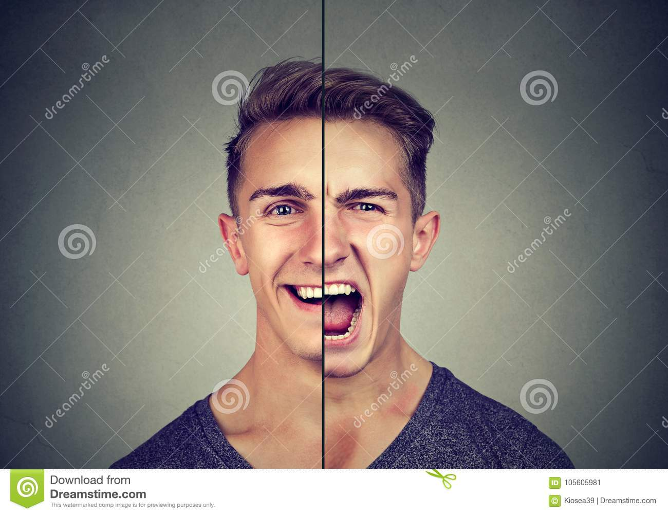 Bipolar disorder concept. Young man with double face expression
