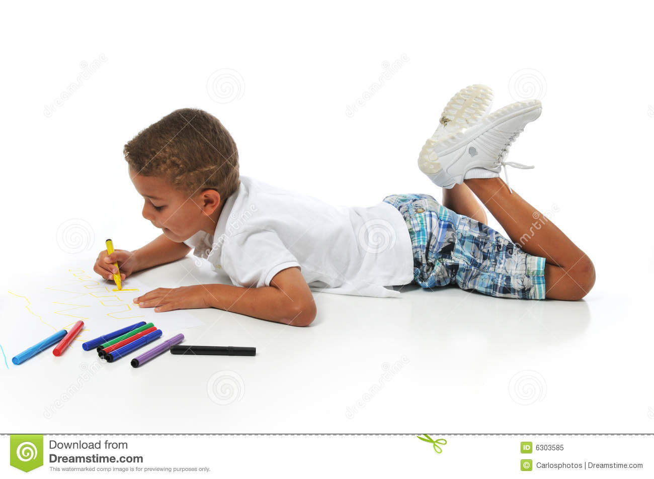 Biracial Boy Coloring Royalty Free Stock Photo