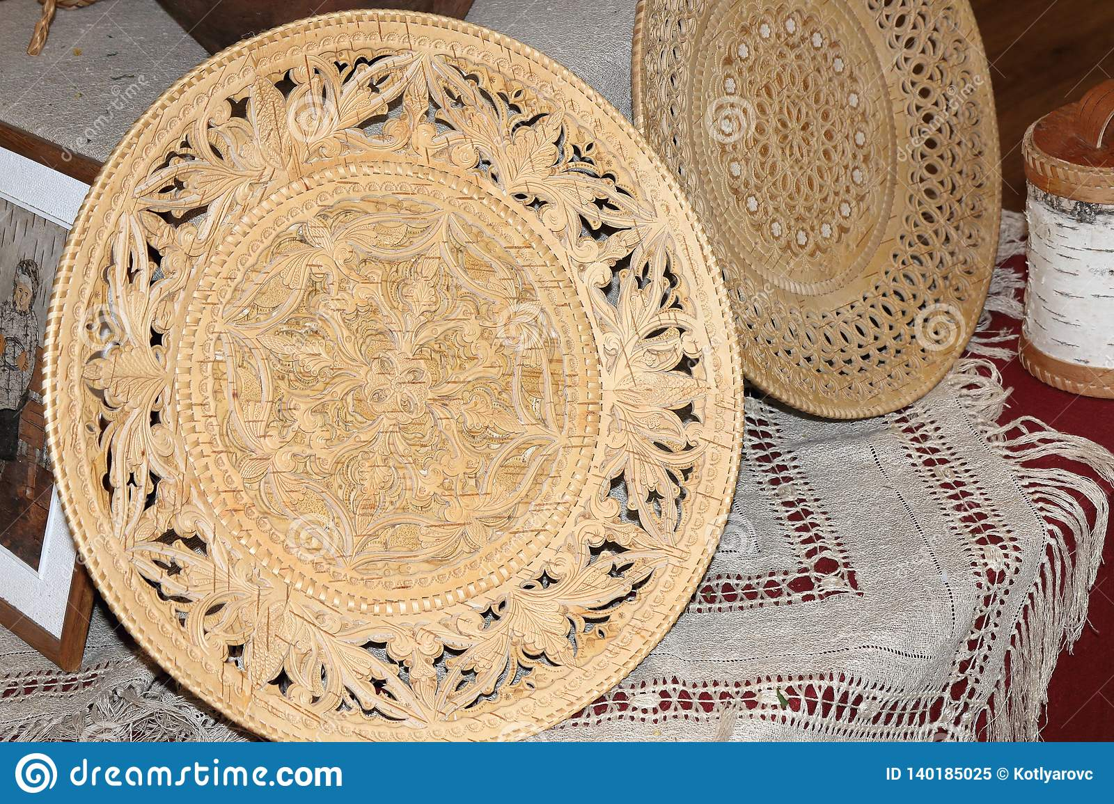 Birch bark carved plates for bread.