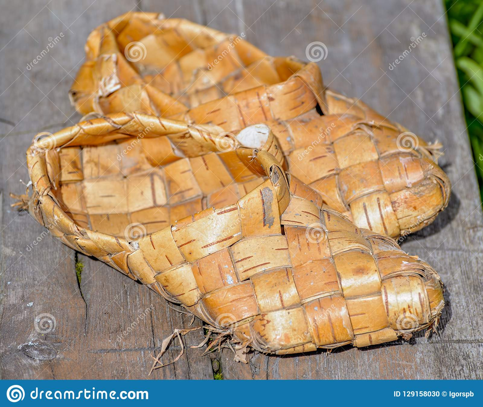 Birch Bast Shoes On Wooden Background Stock Photo Image Of Aged