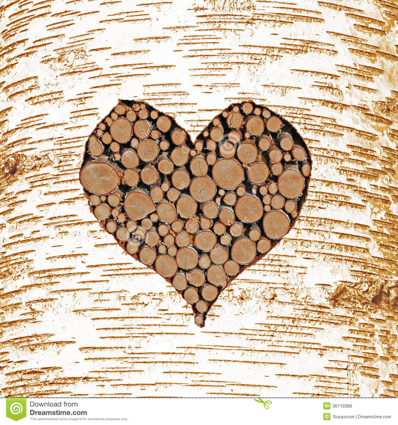 Birch Tree Bark With Heart Shaped Cutout Filled With